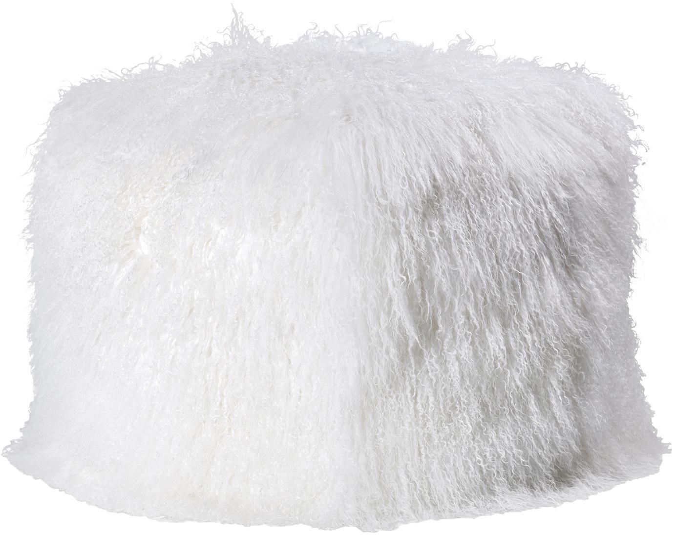 Zachte zitzak van schapenvacht Cube, Wit, B 60 cm