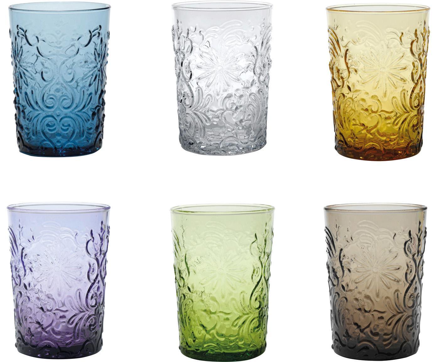 Mundgeblasene Wassergläser Barocco mit Blumenrelief, 6er-Set, Glas, Mehrfarbig, Ø 8 x H 10 cm