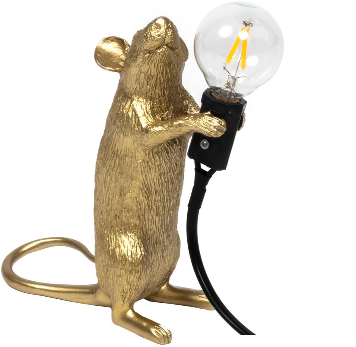Lámpara de mesa de diseño Mouse, Lámpara: resina, Cable: plástico, Dorado, An 6 x Al 15