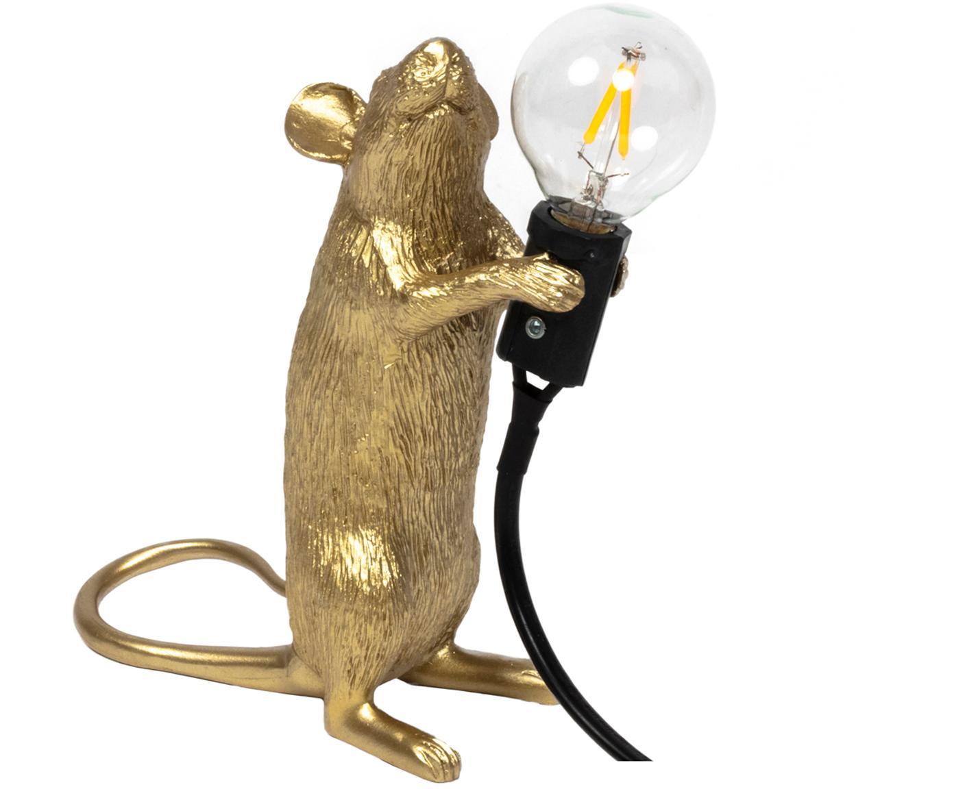 Lámpara de mesa de diseño Mouse, Cable: plástico, Dorado, An 6 x Al 15