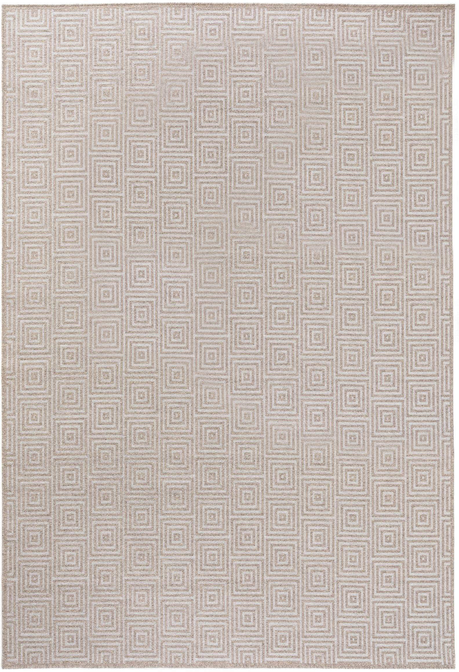 Wollteppich Jacob mit grafischem Muster, 70% Wolle, 30% Viskose, Hellgrau, Beige, B 120 x L 170 cm (Größe S)
