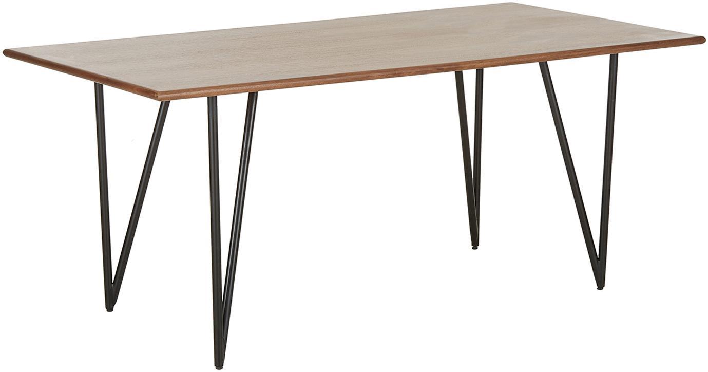 Esstisch Juno aus Walnussholzfurnier, Tischplatte: Mitteldichte Holzfaserpla, Gestell: Metall, pulverbeschichtet, Walnussholzfurnier, B 180 x T 90 cm