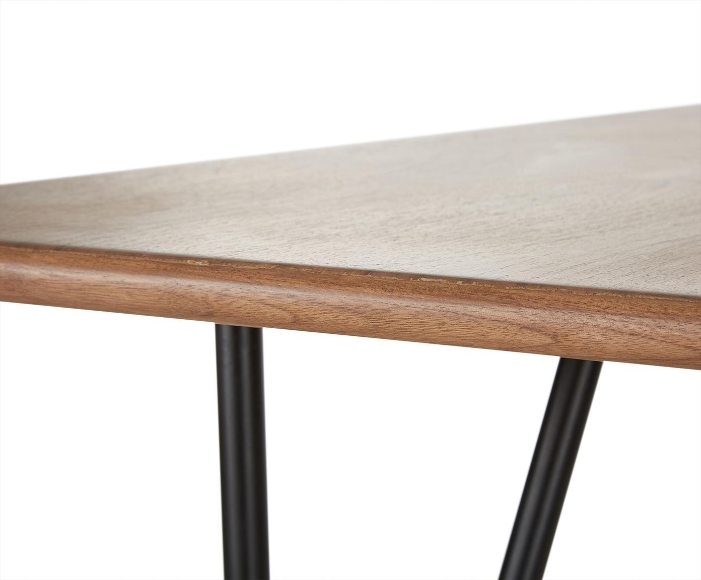 Tavolo con finitura in noce Juno, Piano d'appoggio: pannello di fibra a media, Struttura: metallo verniciato a polv, finitura in noce, Larg. 180 x Prof. 90 cm