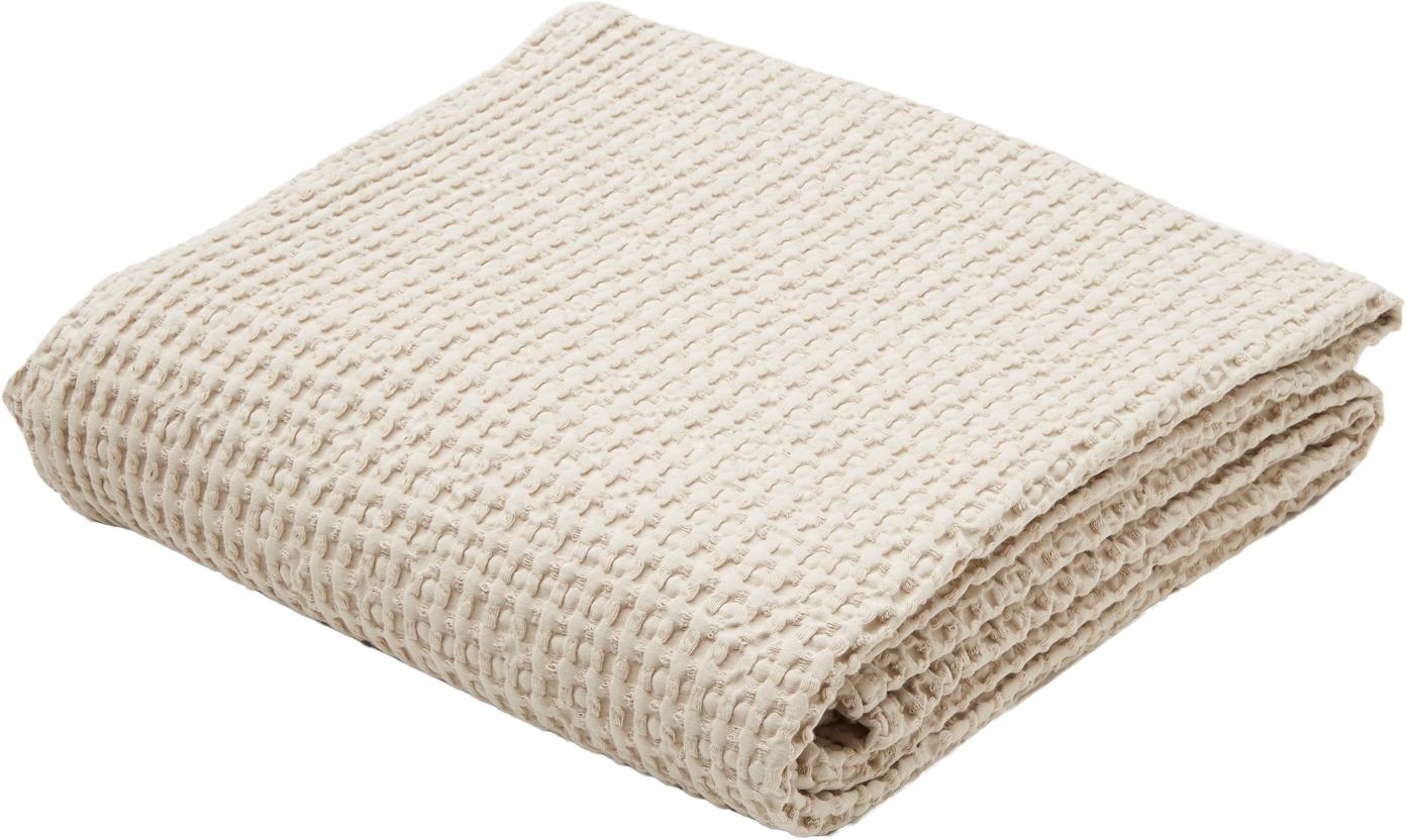 Baumwoll-Tagesdecke Tempy mit strukturierter Oberfläche, 100% Baumwolle, Hellbeige, 180 x 260 cm