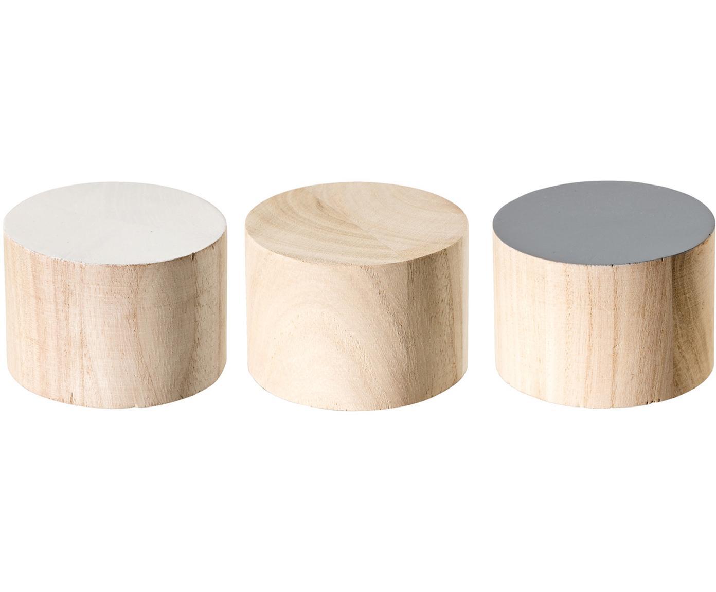 Set 3 appendiabiti in legno Dendi, Legno di Paulownia, Marrone, bianco, grigio, Ø 7 x Prof. 5 cm