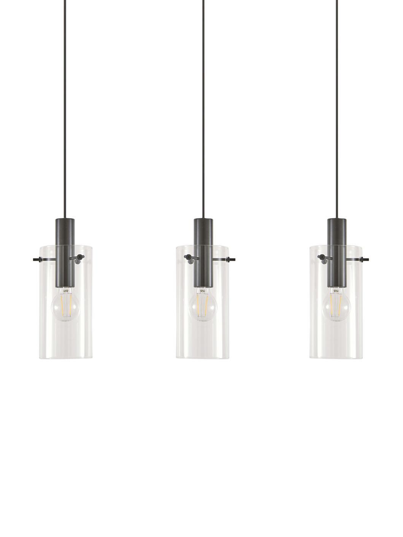 Lampada a sospensione Olga, Baldacchino: metallo verniciato a polv, Paralume: vetro, Nero, Larg. 71 x Alt. 110 cm