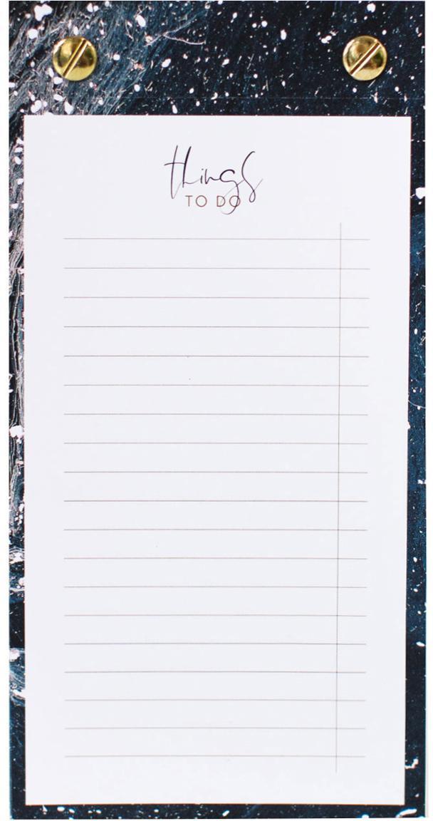 Notizblock To-Do, Dunkelblau, Goldfarben, Weiss, 10 x 19 cm