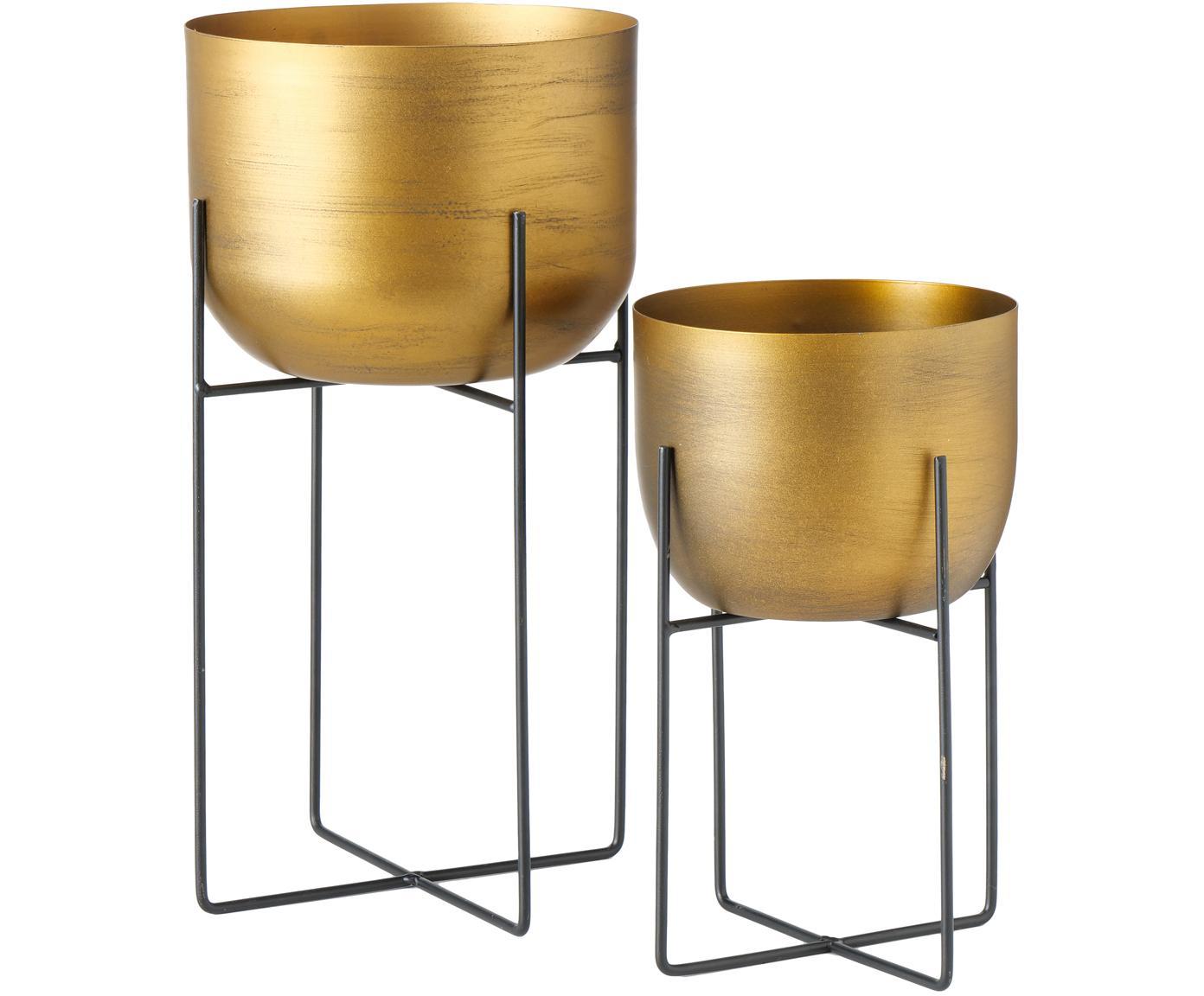 Übertopfe-Set Gadal, 2-tlg., Metall, beschichtet, Messingfarben, Verschiedene Grössen
