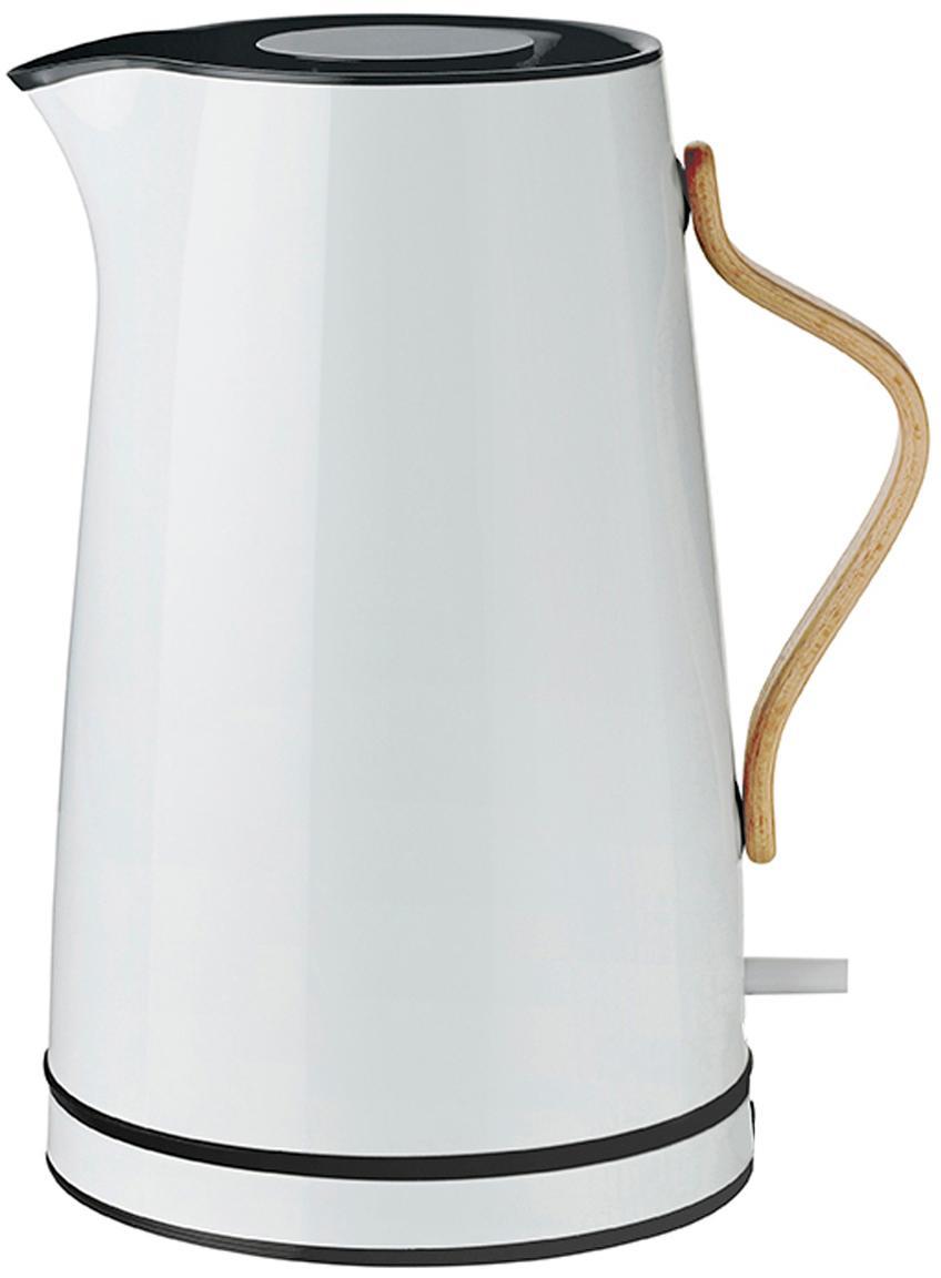 Wasserkocher Emma in Weiss mit Blaustich, Griff: Buchenholz, Weiss mit Blaustich, 1.2 L