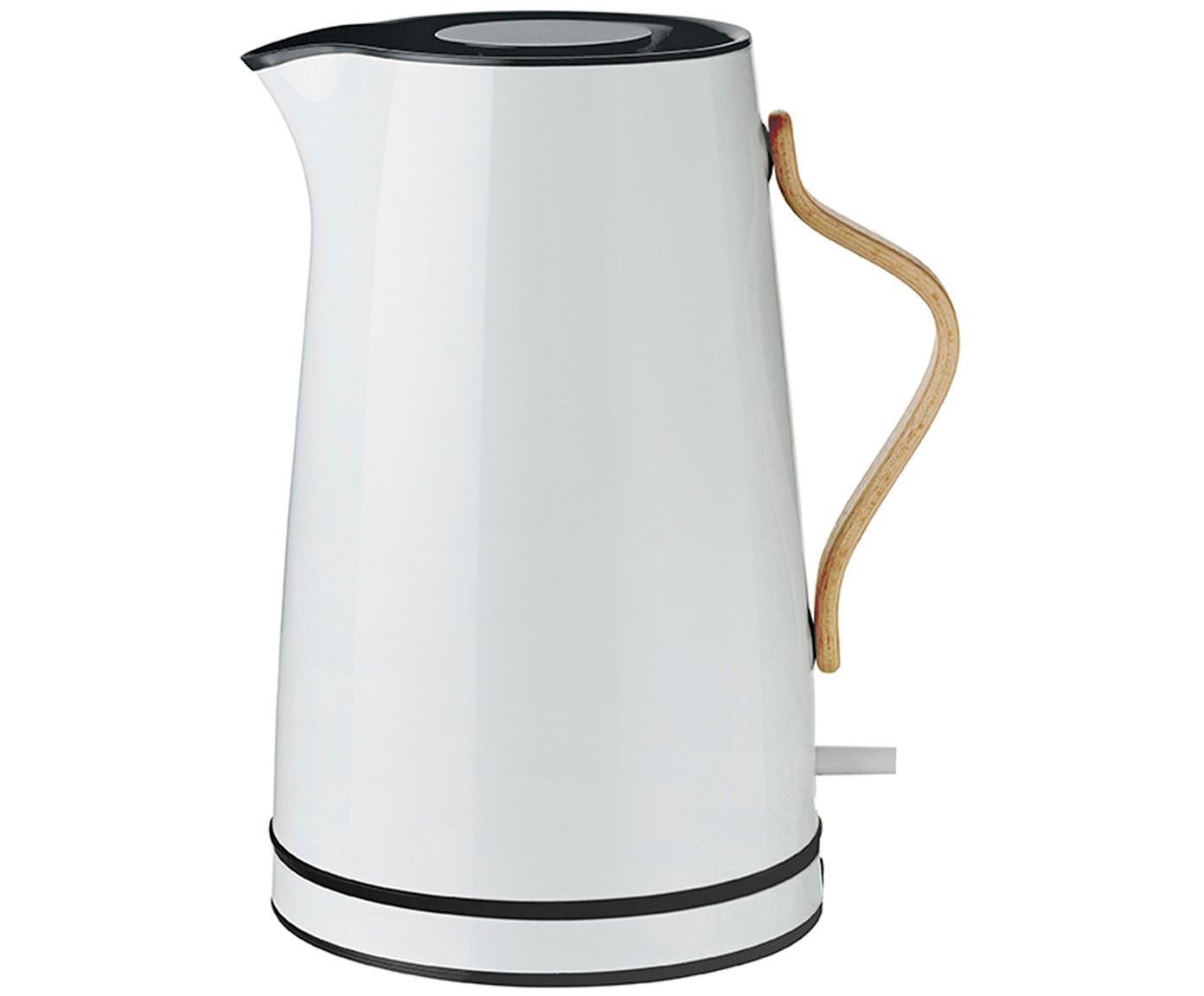 Wasserkocher Emma in Weiß mit Blaustich, Griff: Buchenholz, Weiß mit Blaustich, 1.2 L