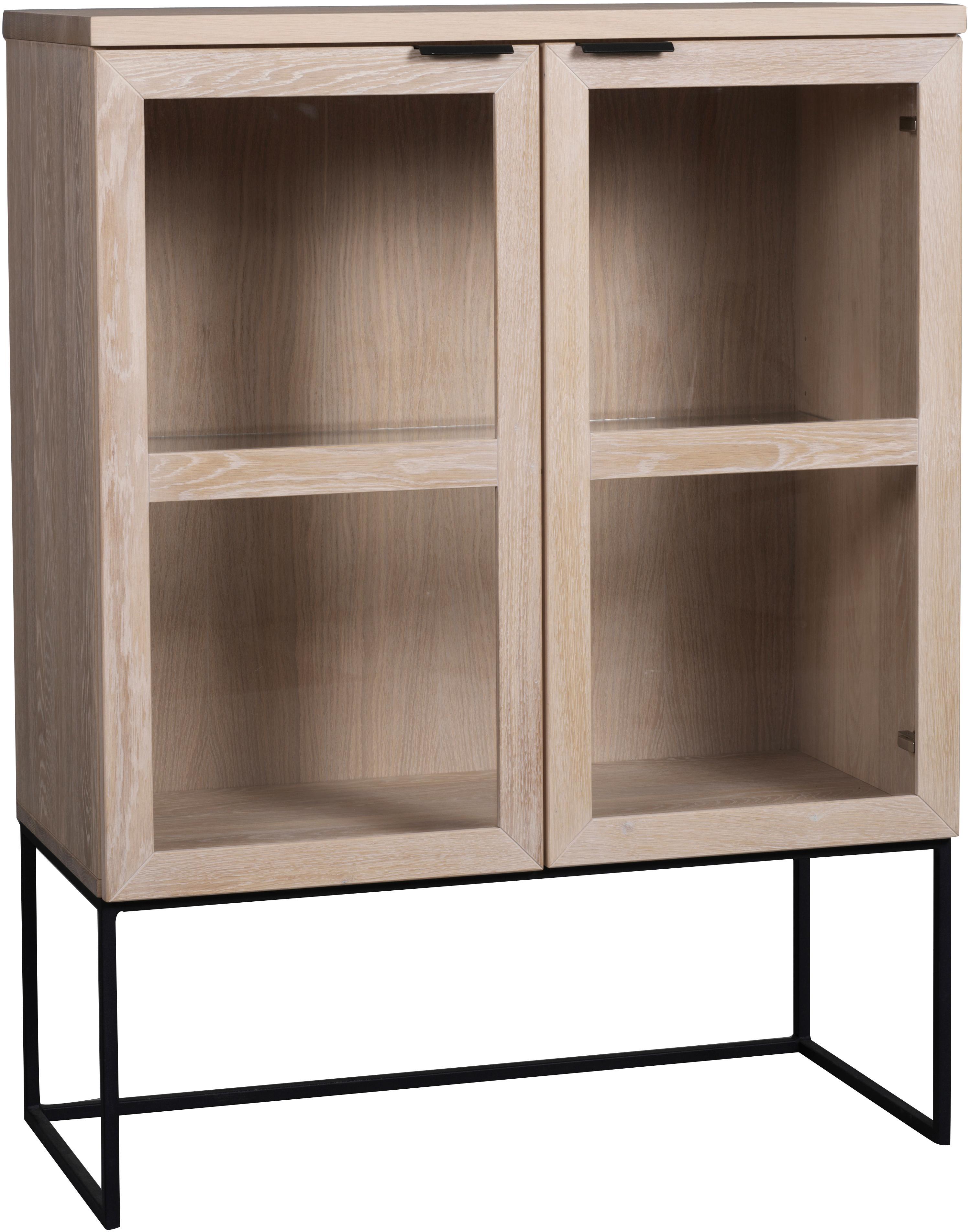Credenza alta in legno di quercia e vetro Everett, Struttura: metallo laccato, Sbiancato, nero, Larg. 95 x Alt. 125 cm