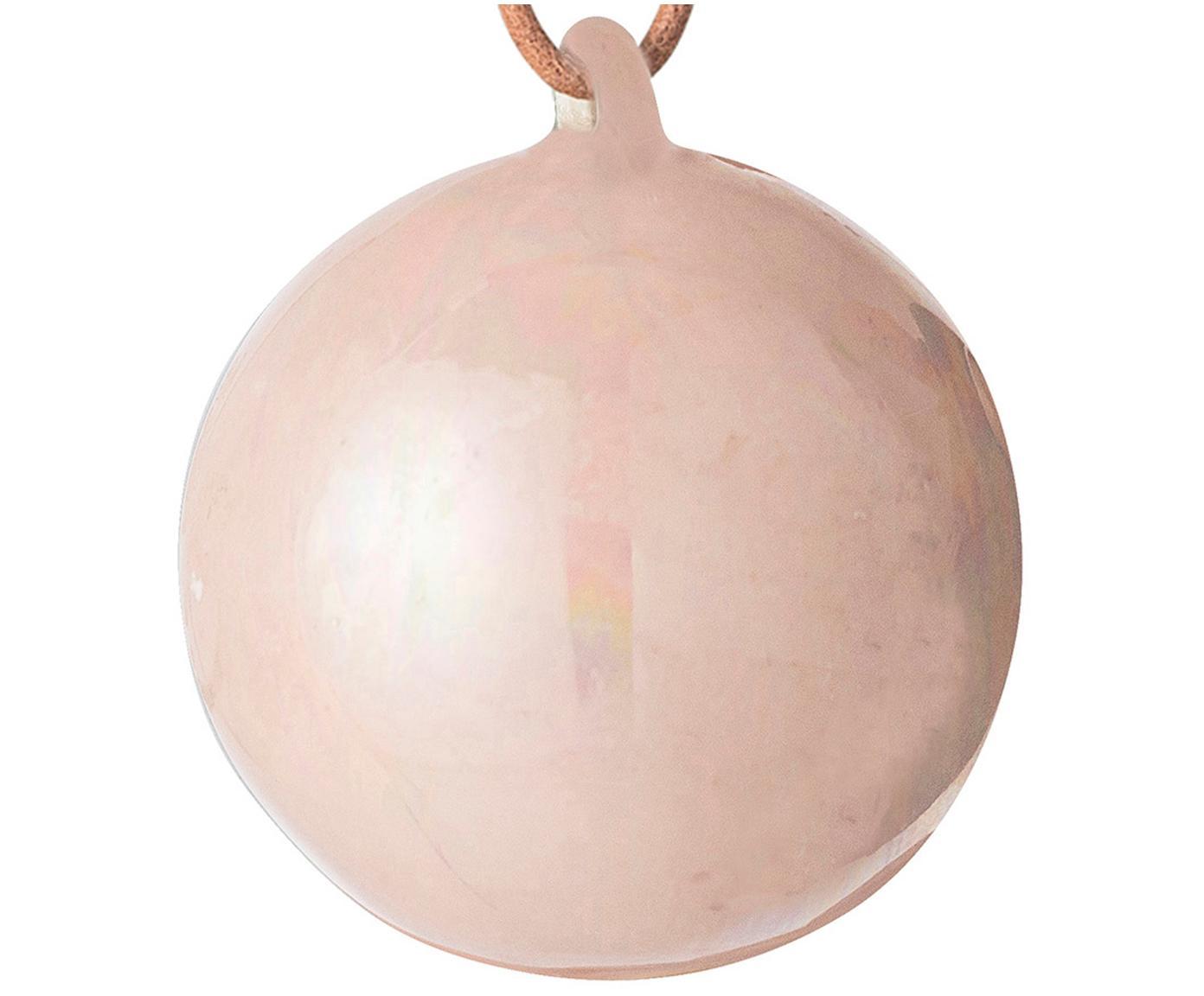 Bolas de Navidad Glint, 2uds., Adornos: gres, Adornos: rosa Cuerda: beige, Ø 5 cm
