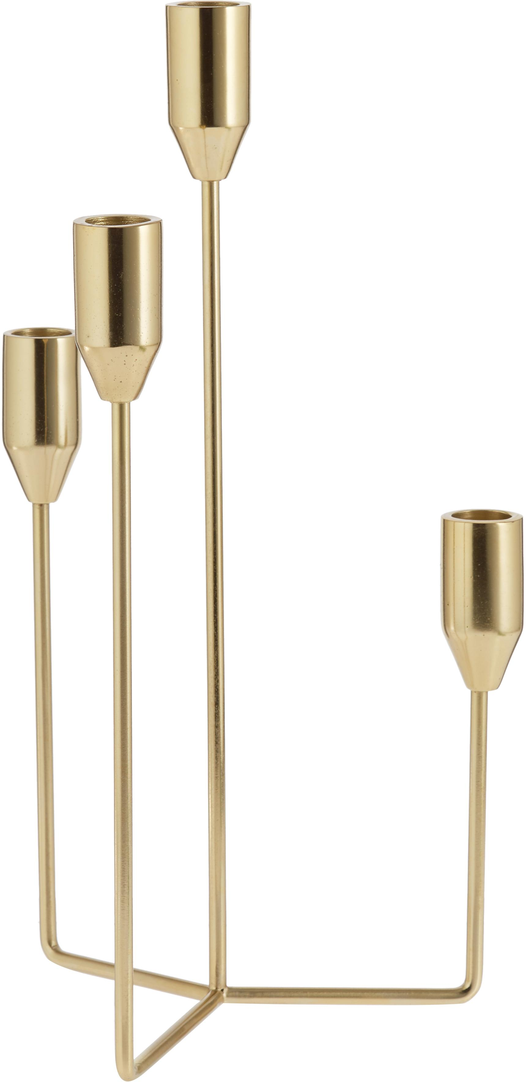 Kerzenhalter Era, Metall, vermessingt, Messing, 18 x 36 cm