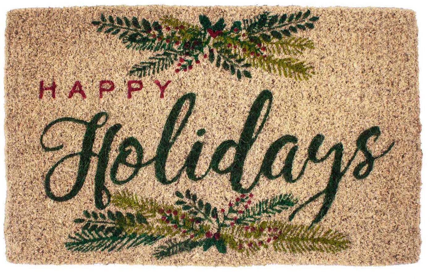 Handgeweven deurmat Happy Holidays, Kokosvezels, Beige, groen, rood, 43 x 70 cm