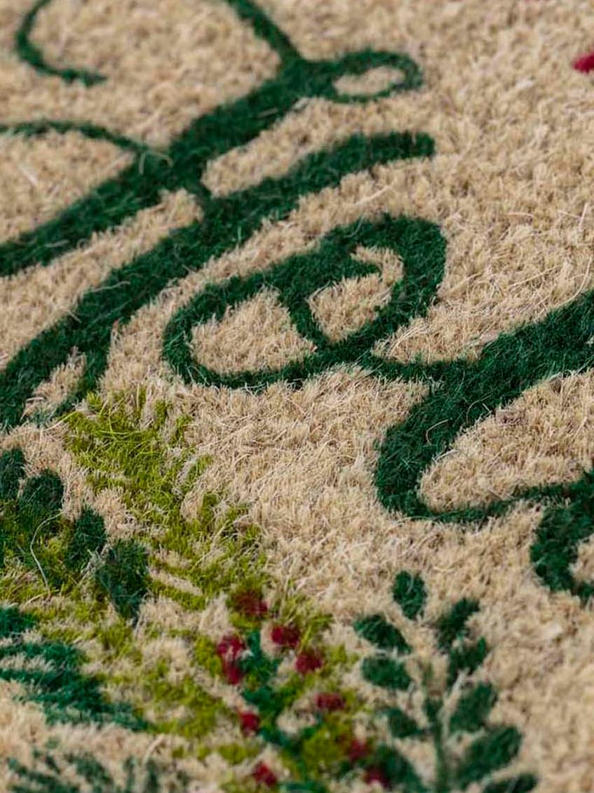 Handgewebte Fußmatte Happy Holidays, Kokosfasern, Beige, Grün, Rot, 43 x 70 cm