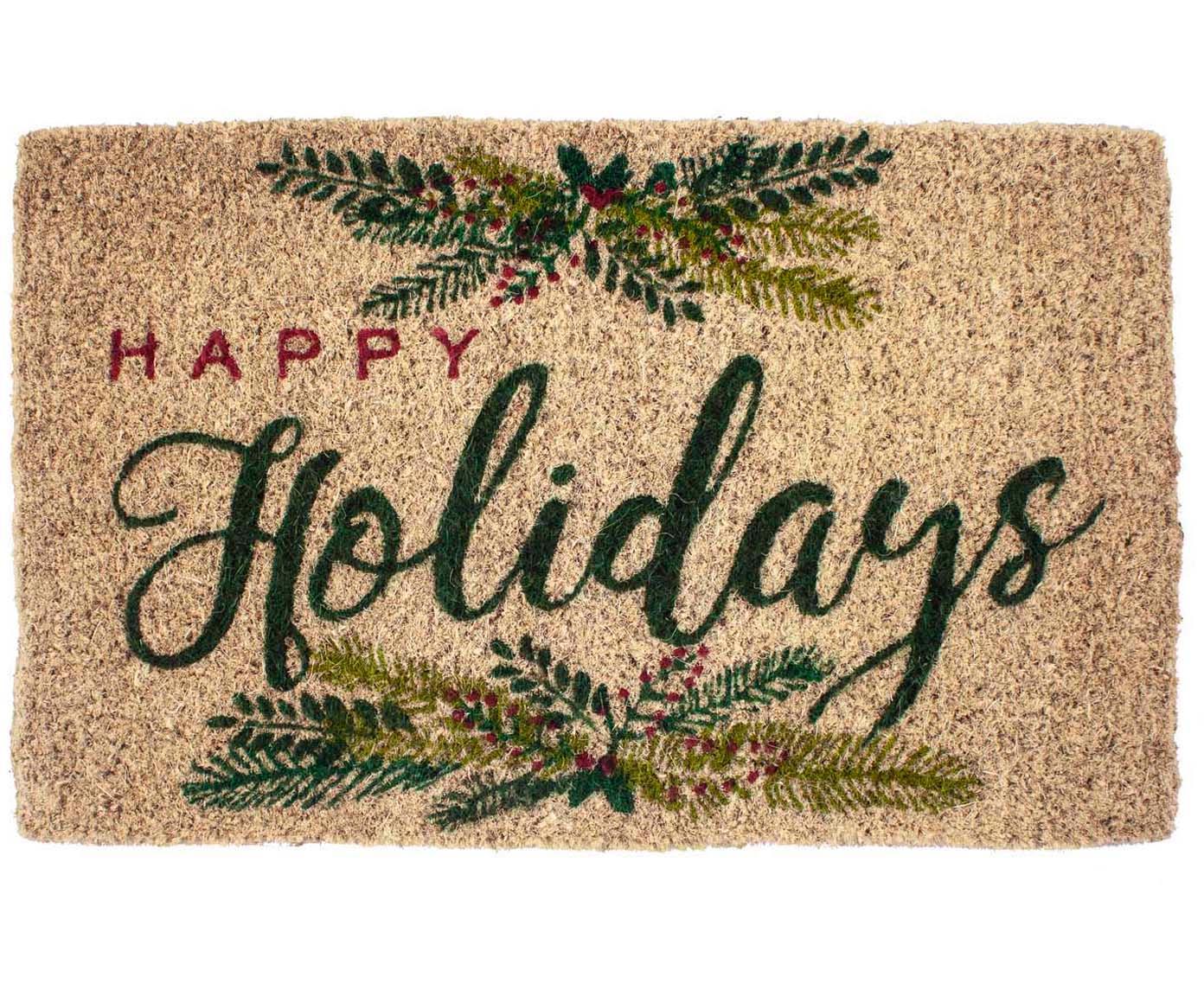 Felpudo artesanal Happy Holidays, Fibras de coco, Beige, verde, rojo, An 43 x L 70 cm