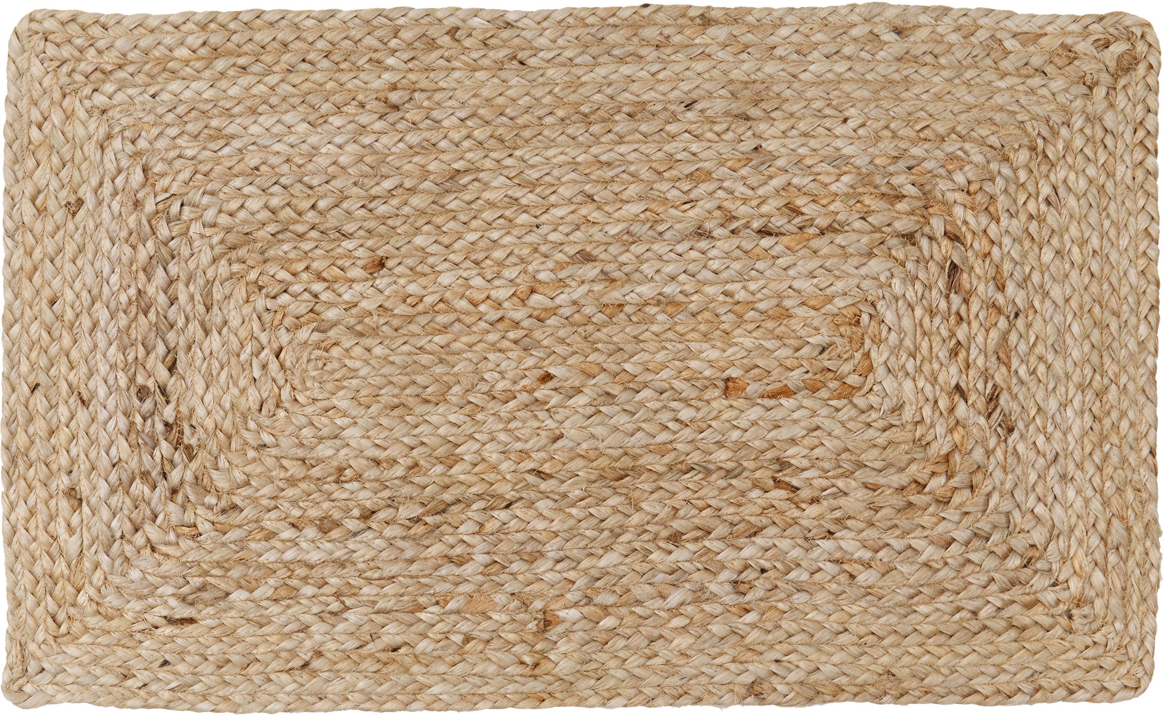 Jute-Fußmatte Ural, 100% Jute, Beige, 45 x 75 cm