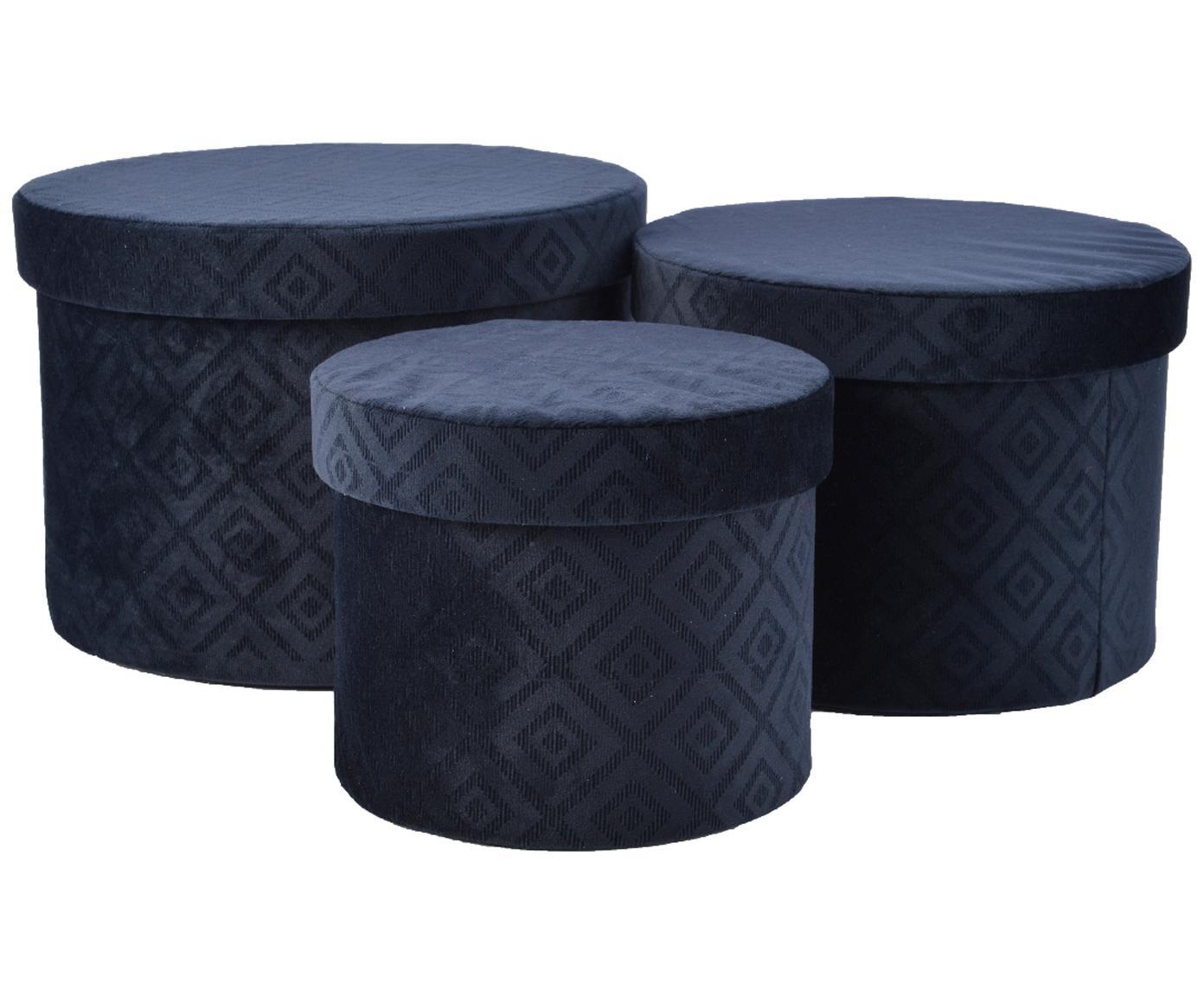 Set de cajas de regalo de terciopelo Trinity Caro, 3pzas., Terciopelo de poliéster, Azul oscuro, Tamaños diferentes