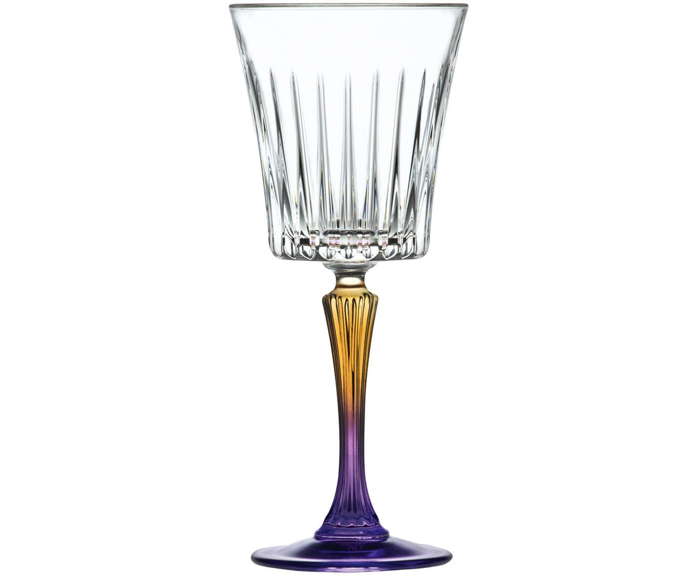 Kristall-Weißweingläser Gipsy mit zweifarbigem Stiel, 6er-Set, Luxion-Kristallglas, Transparent, Gelbgold, Lila, Ø 9 x H 21 cm