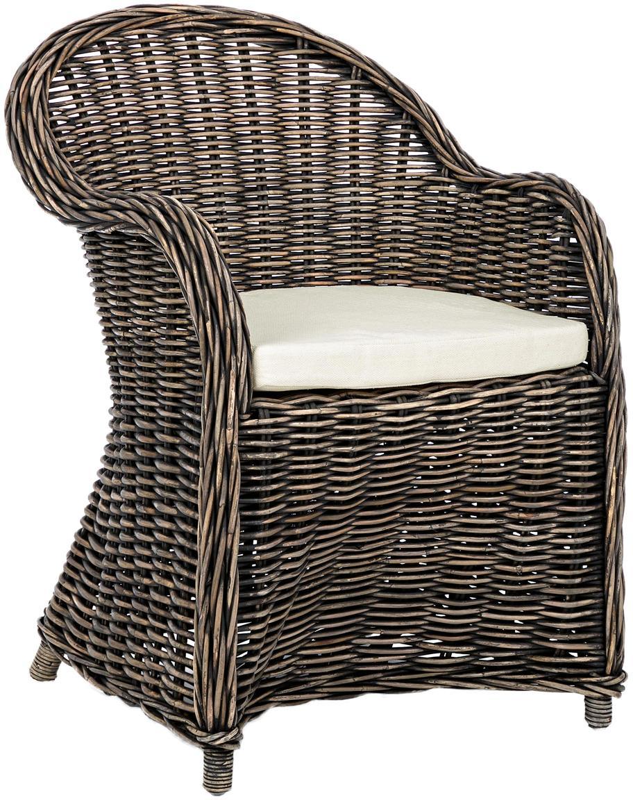 Fotel z podłokietnikami z rattanu Martin, Tapicerka: bawełna, Rattan, czarny, biały, S 60 x W 89 x G 67 cm