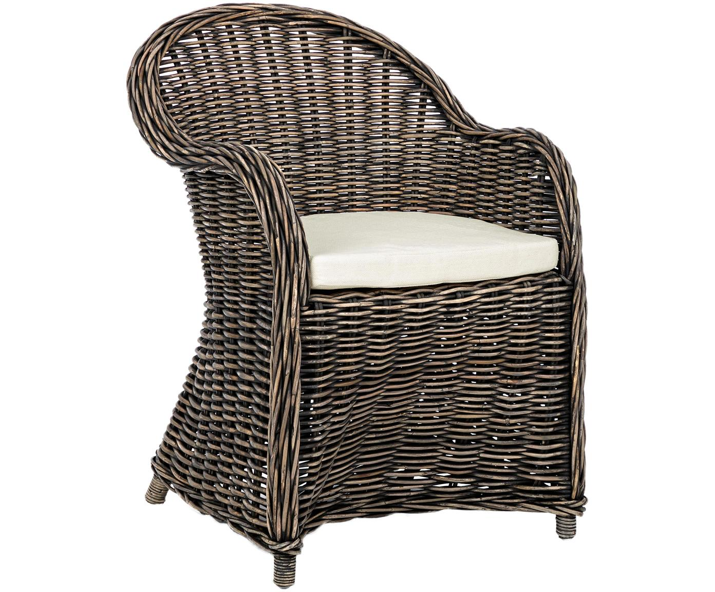 Loungefauteuil Martin, Bekleding: katoen, Rotan, zwart, wit, 60 x 89 cm