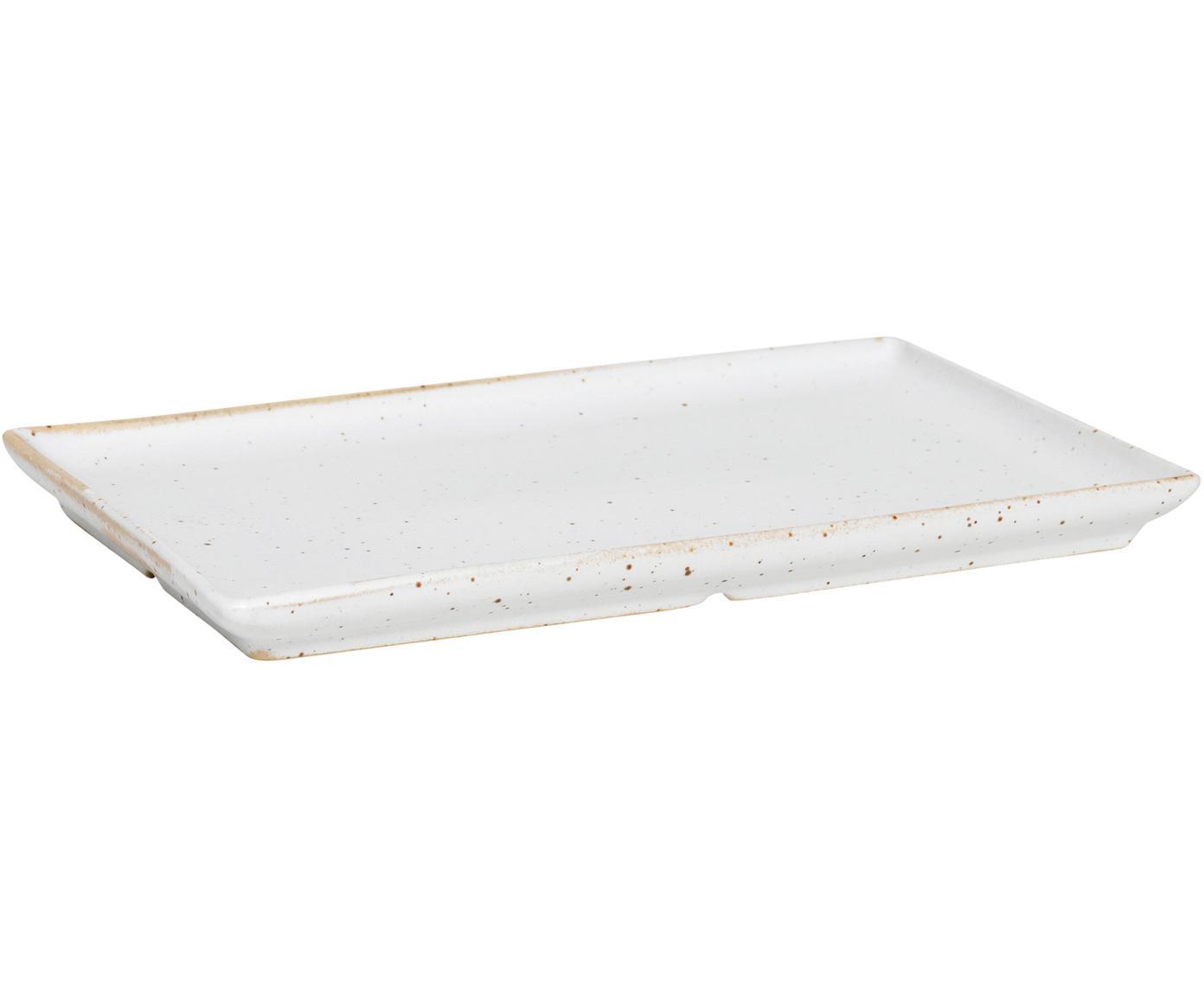 Rechteckige Steingut-Teller Eli mit mattem Finish, 4 Stück, Steingut, Beige, Hellgrau, 20 x 2 cm