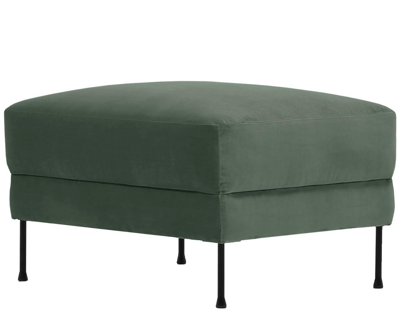 Poggiapiedi da divano in velluto Fluente, Rivestimento: velluto (rivestimento in , Struttura: legno di pino massiccio, Piedini: metallo verniciato, Velluto verde, Larg. 62 x Alt. 46 cm