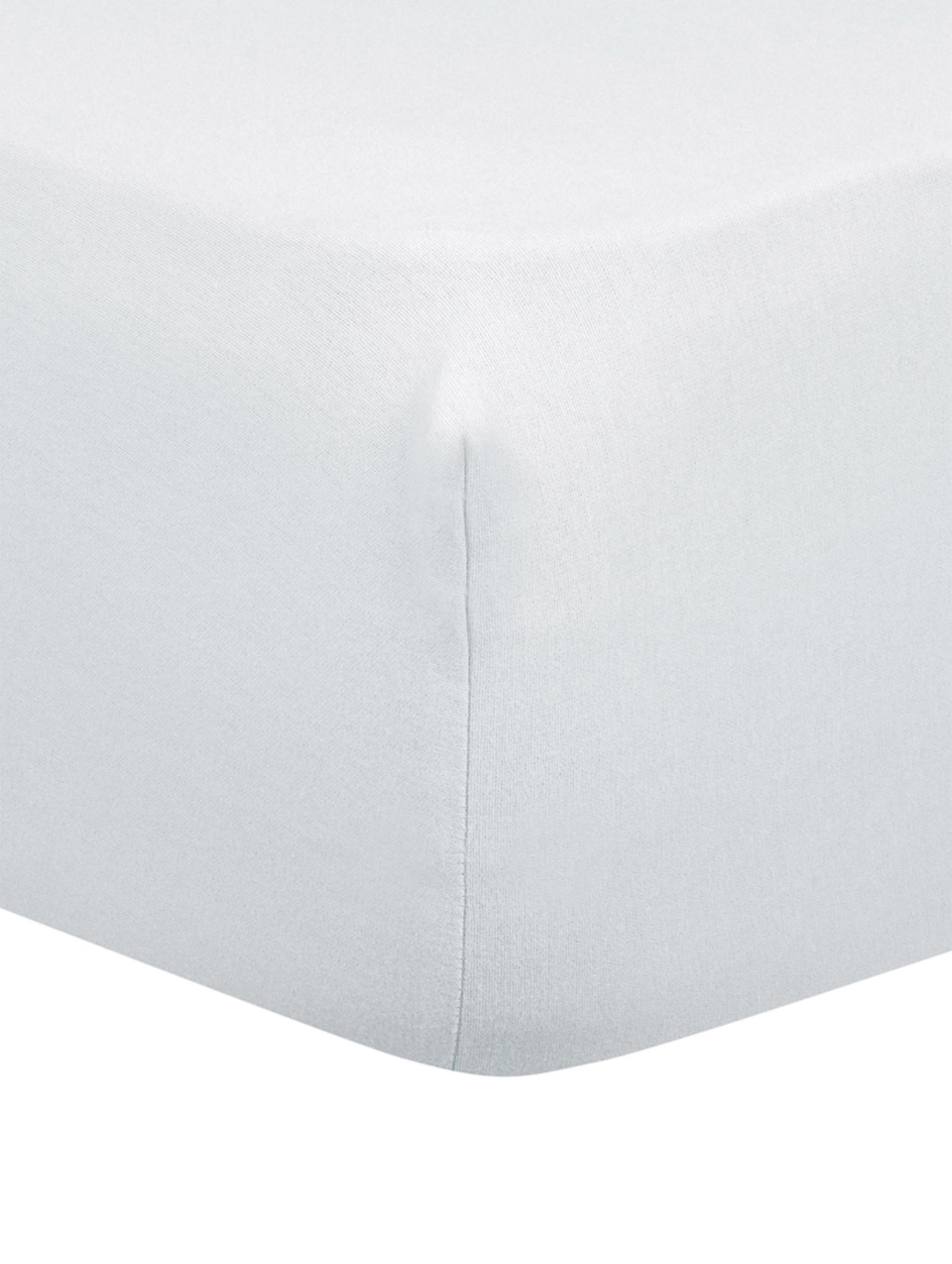 Lenzuolo con angoli in flanella Biba, Tessuto: flanella, Grigio chiaro, Larg. 90 x Lung. 200 cm