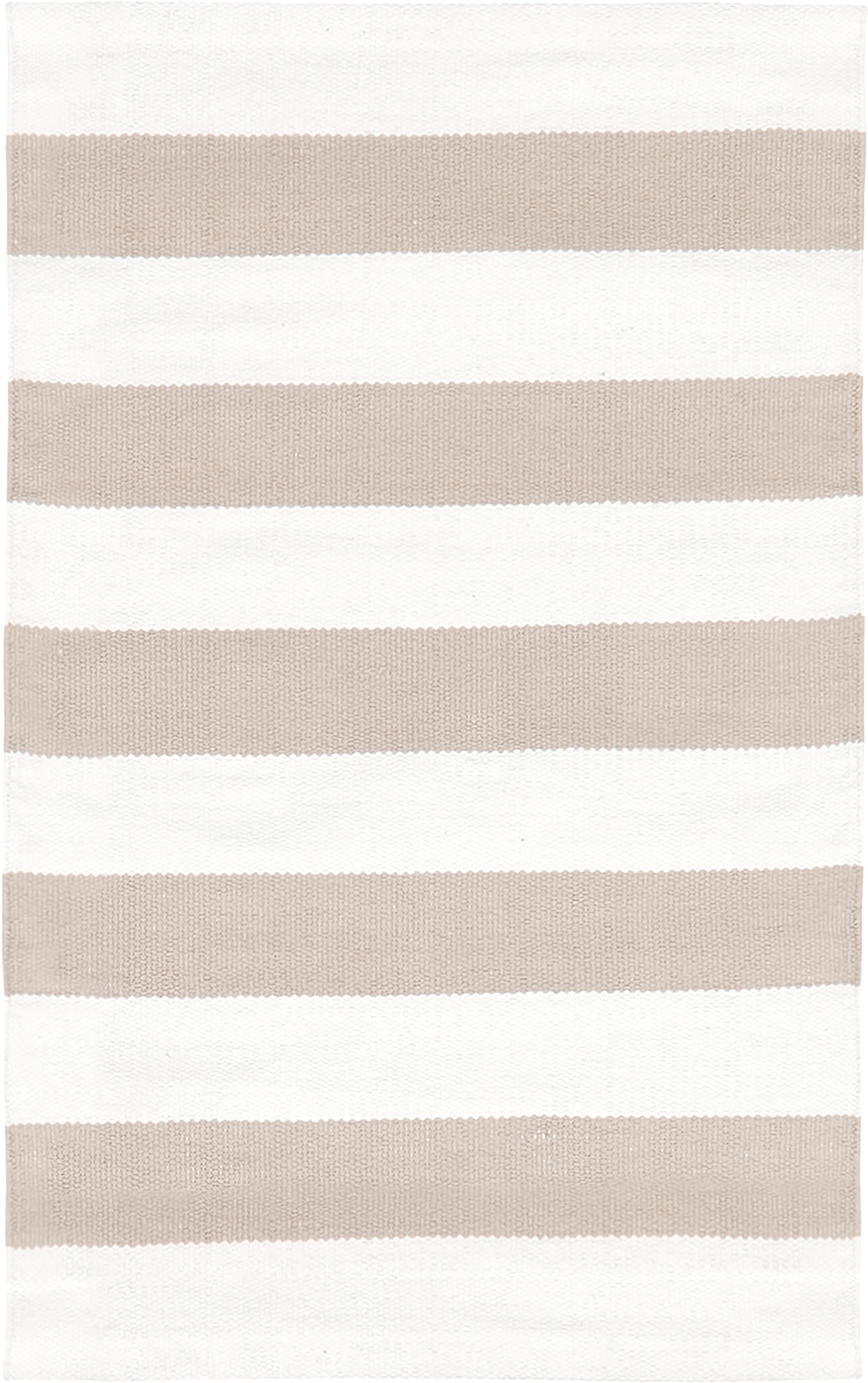 Gestreept katoenen vloerkleed Blocker in beige/wit, handgeweven, 100% katoen, Crèmewit, taupe, B 50 x L 80 cm (maat XXS)
