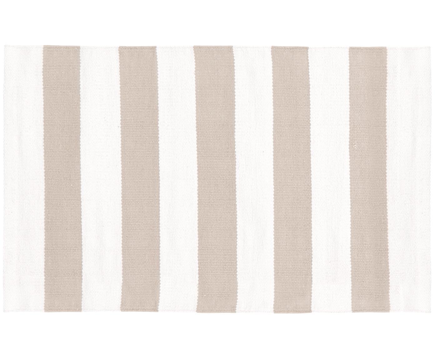 Gestreifter Baumwollteppich Blocker in Beige/Weiss, handgewebt, 100% Baumwolle, Cremeweiss/Taupe, B 50 x L 80 cm (Grösse XXS)