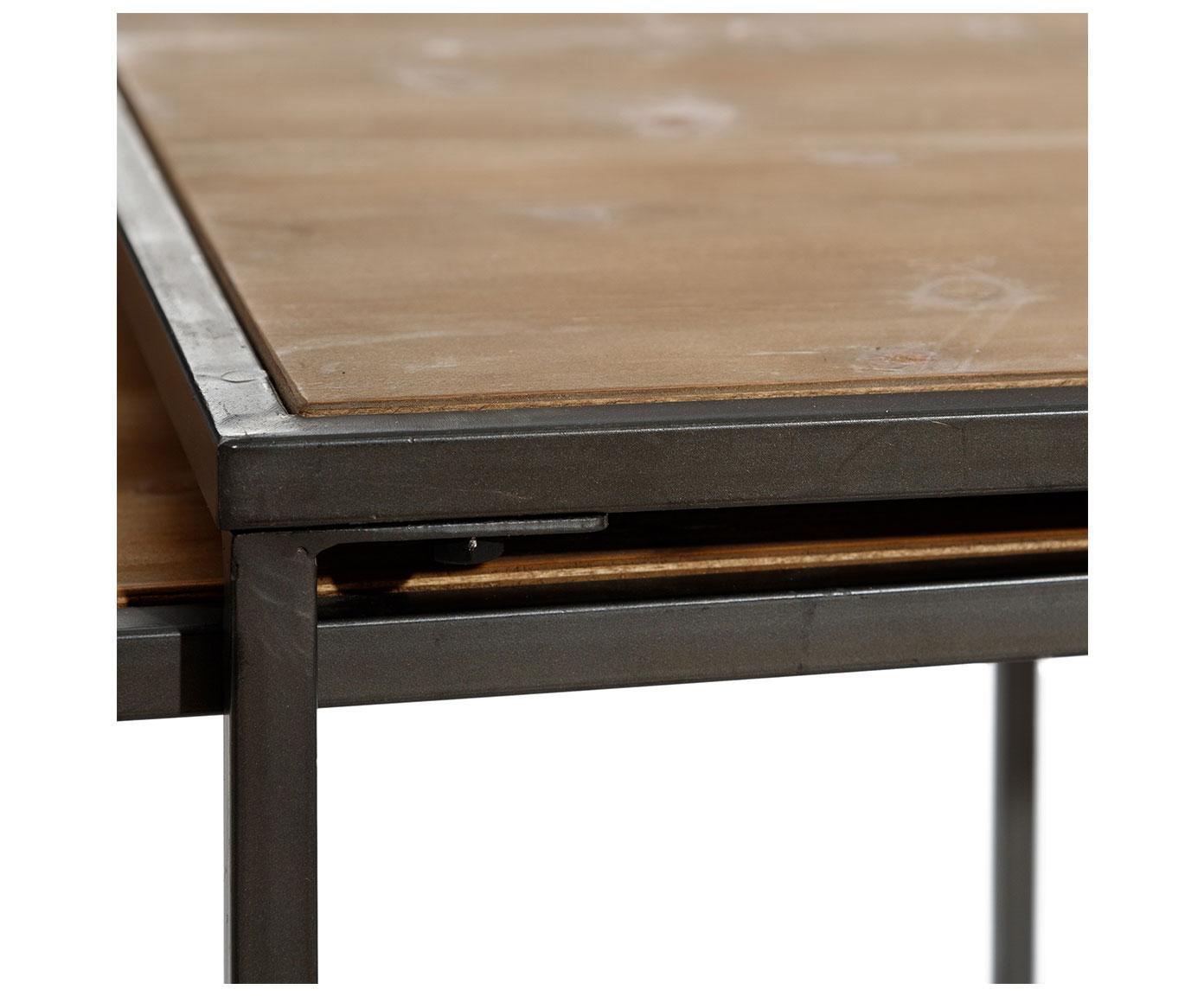 Set de mesas de centro Himola, 3pzas., Marrón, negro, Tamaños diferentes