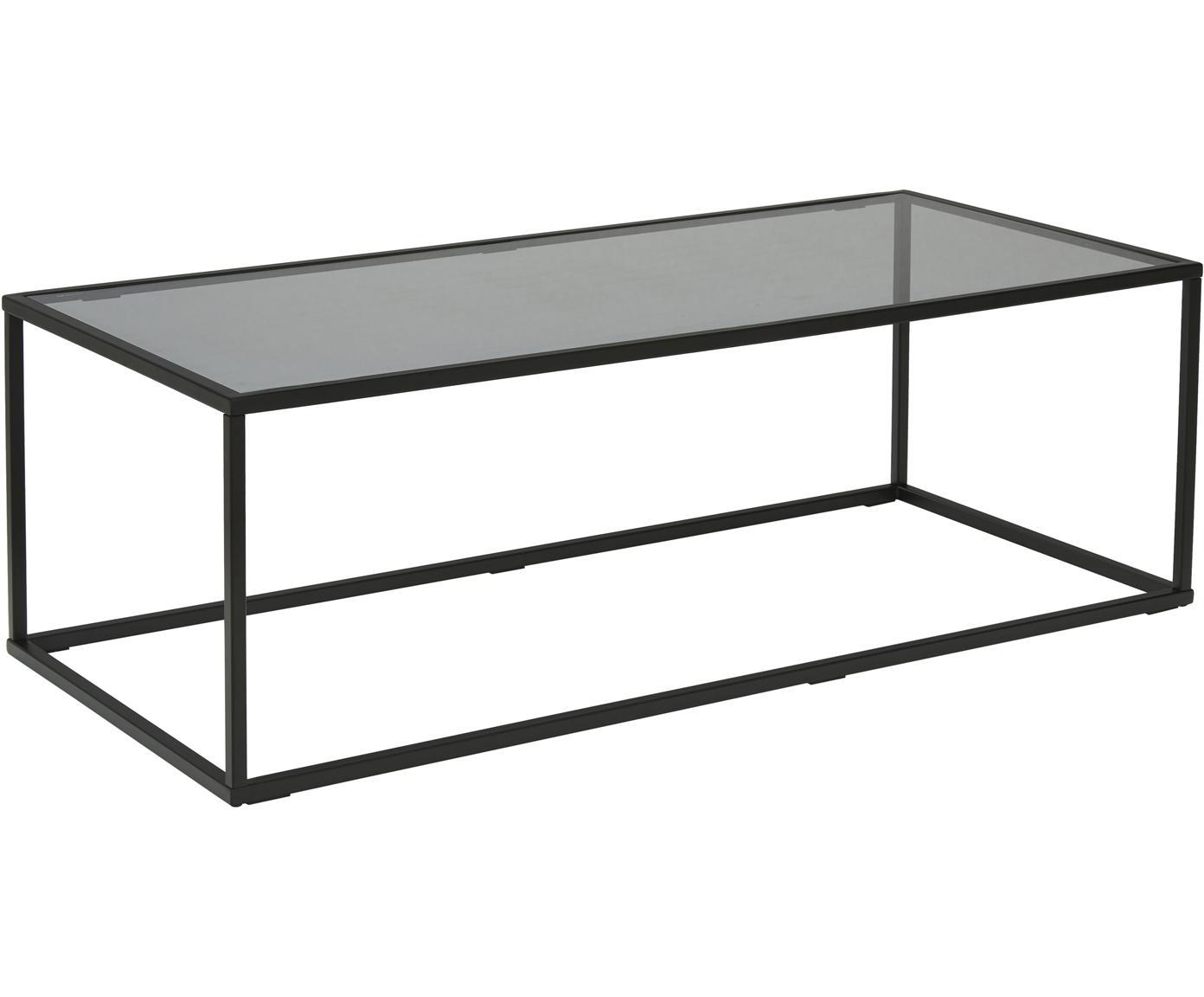 Salontafel Maya met glazen tafelblad, Tafelblad: veiligheidsglas, Frame: gepoedercoat metaal, Tafelblad: zwart getint glas. Frame: mat zwart, B 110 x D 50 cm