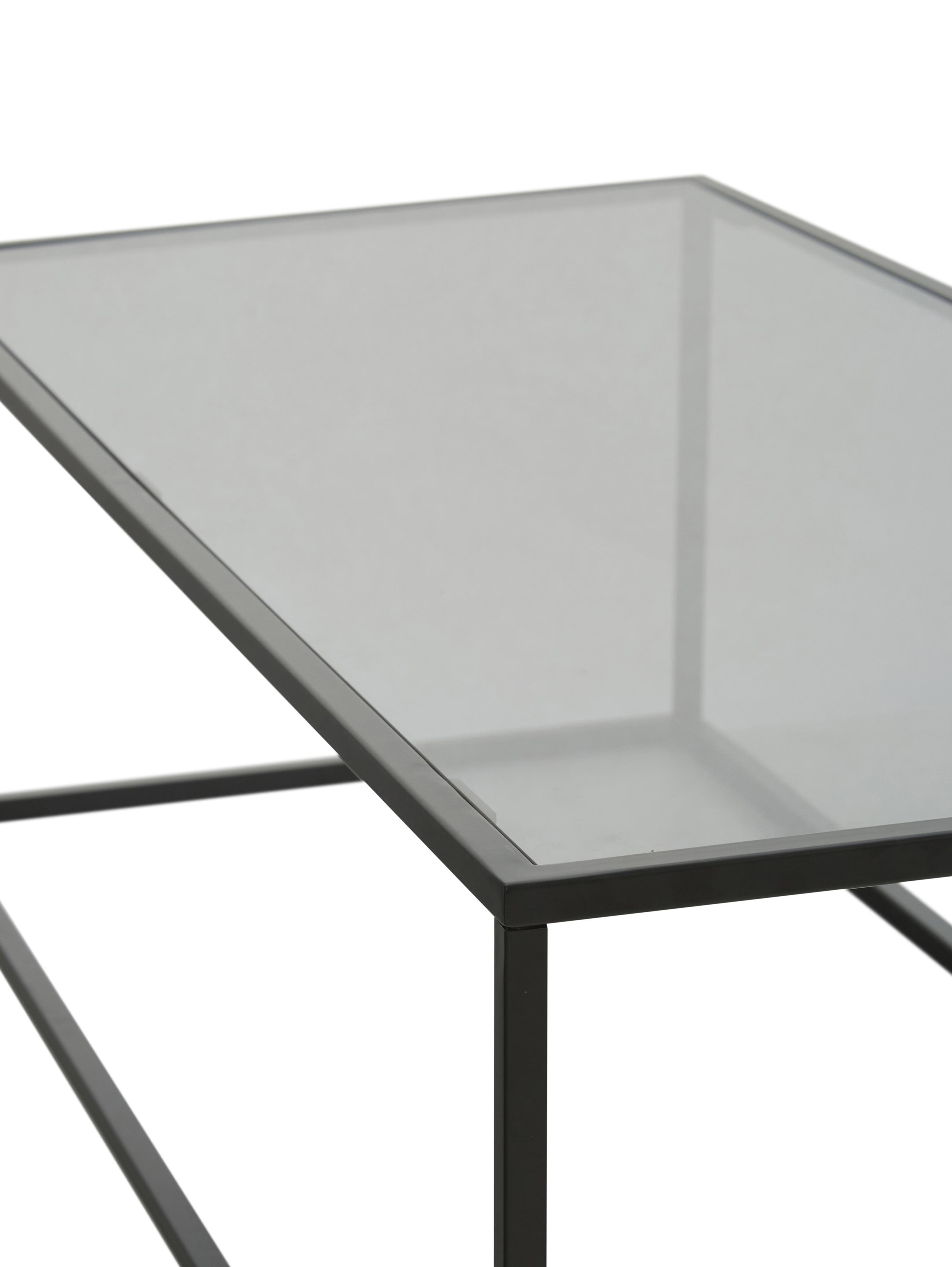 Couchtisch Maya mit Glasplatte, Tischplatte: Sicherheitsglas, Gestell: Metall, pulverbeschichtet, Tischplatte: Glas, schwarz getöntGestell: Schwarz, matt, 110 x 36 cm