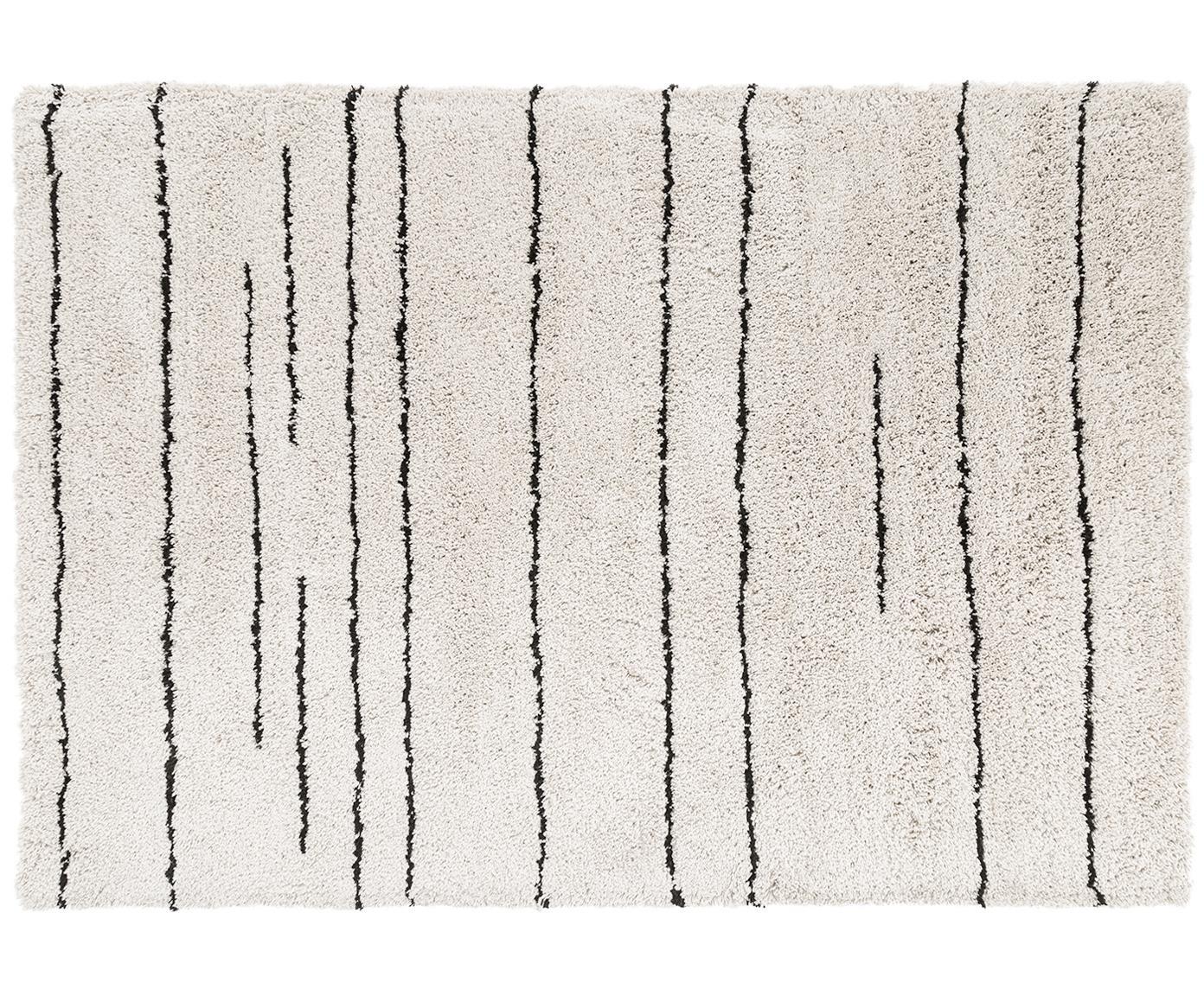 Handgetuft vloerkleed Dunya, Bovenzijde: 100% polyester, Onderzijde: 100% katoen, Beige, zwart, 200 x 300 cm