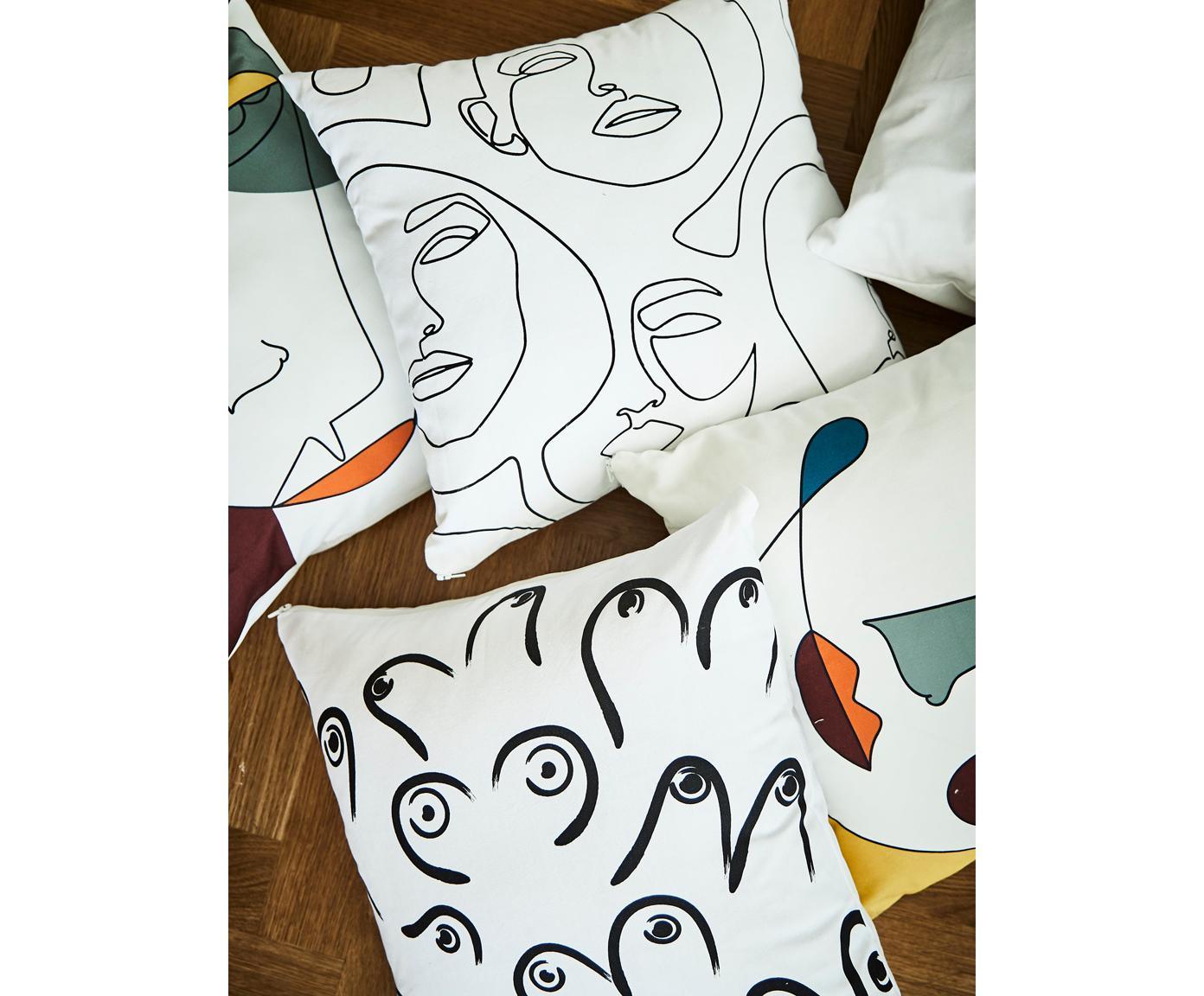 Poszewka na poduszkę Boobs, 100% bawełna, Biały, czarny, S 40 x D 40 cm
