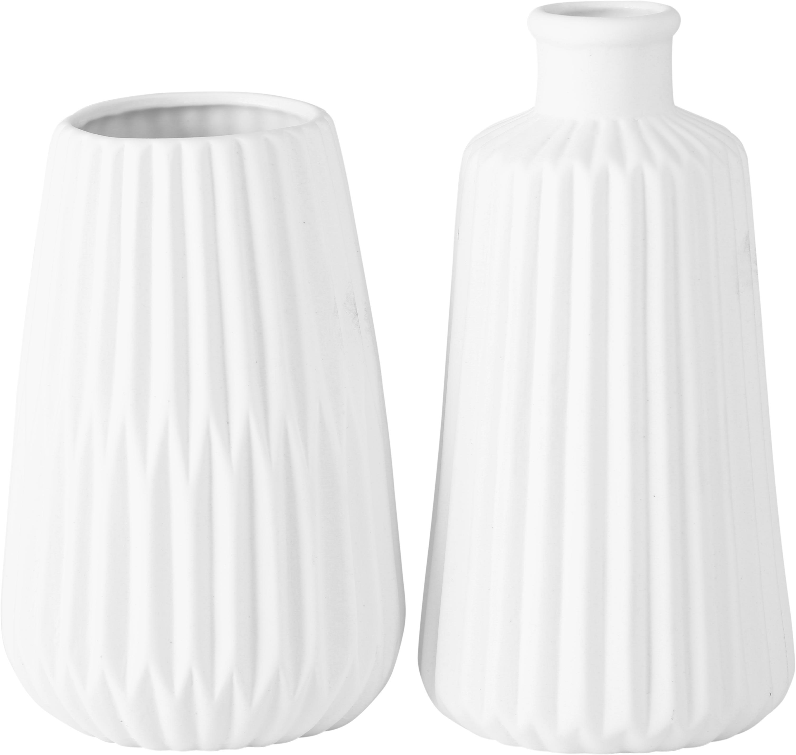 Vasen-Set Esko aus Porzellan, 2-tlg., Porzellan, Weiß, Ø 8 x H 17 cm