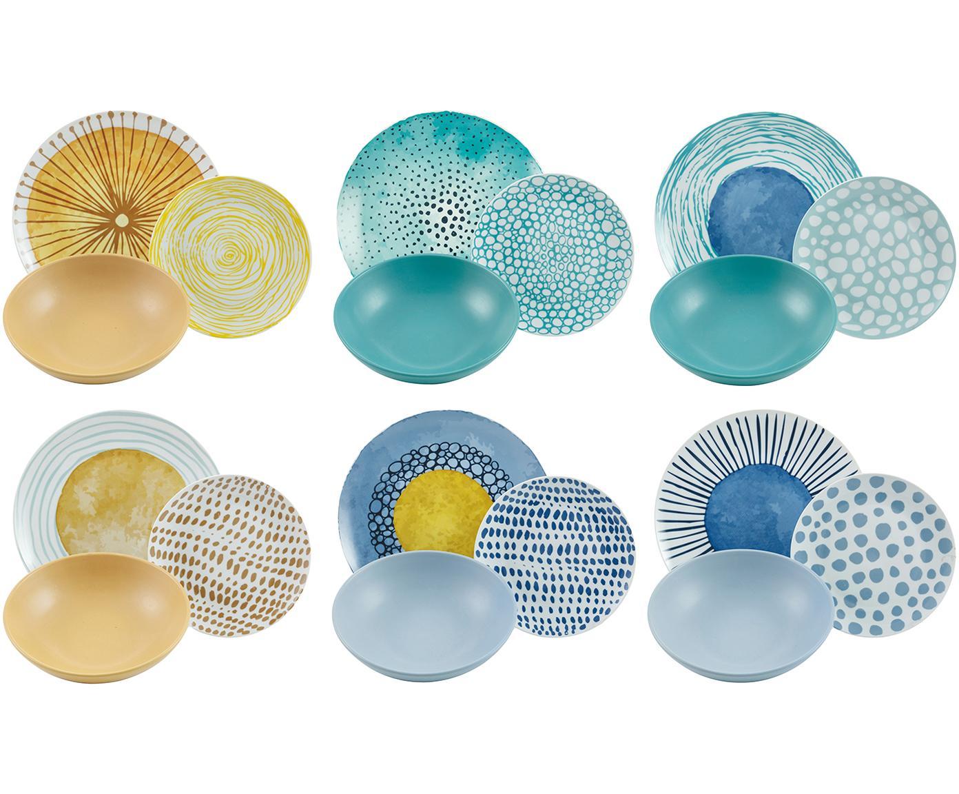 Geschirr-Set Marea mit bunten Designs, 6 Personen (18-tlg.), Blau, Weiß, Gelb, Sondergrößen