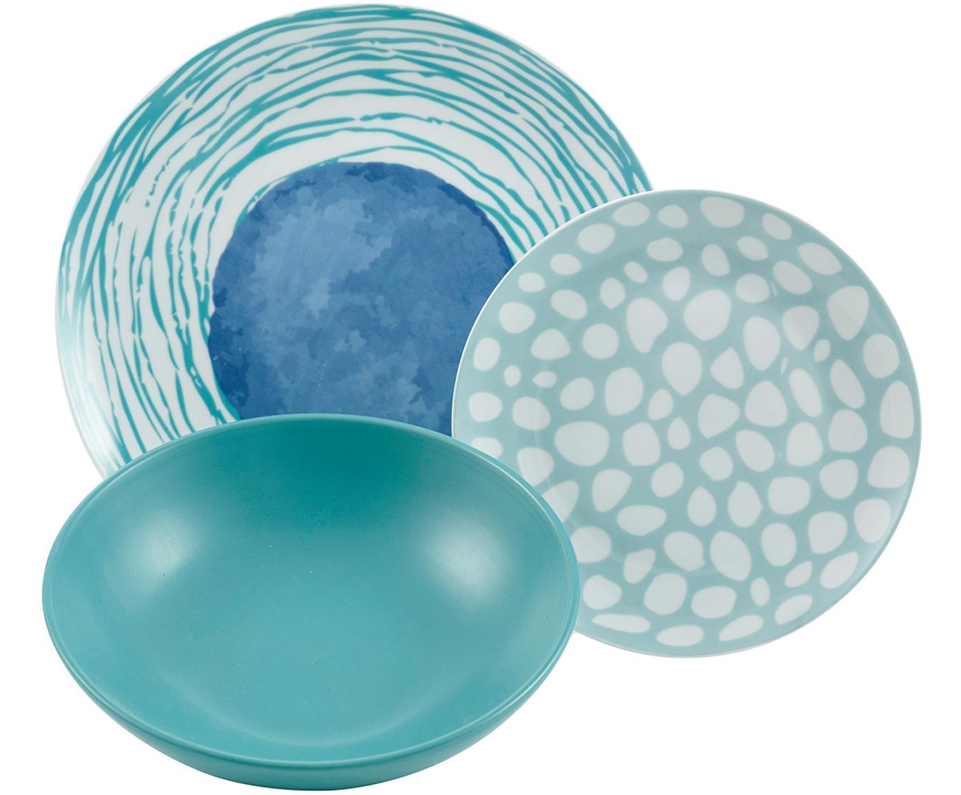 Komplet naczyń Marea, 18 elem., Porcelana, Niebieski, biały, żółty, Różne rozmiary