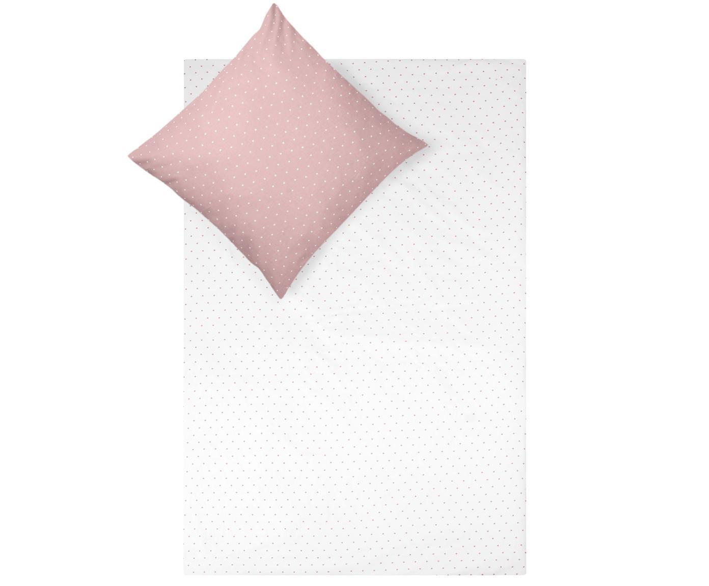 Flanell-Wendebettwäsche Betty, gepunktet, Webart: Flanell Flanell ist ein s, Altrosa, Weiss, 135 x 200 cm + 1 Kissen 80 x 80 cm