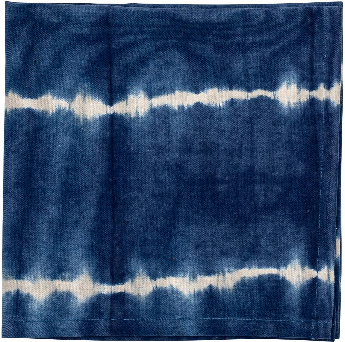Tovagliolo in cotone in effetto batik Alden 4 pz, Cotone, Blu, Larg. 45 x Lung. 45 cm