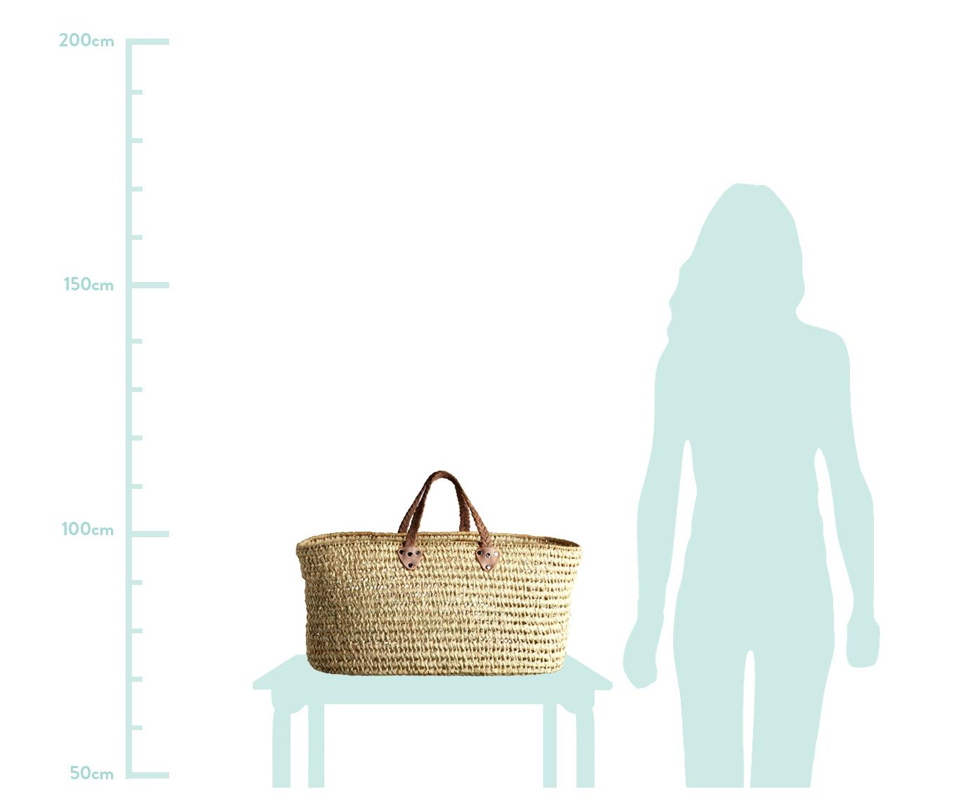 Borsa per la spiaggia Lea, Manico: pelle, Beige, Larg. 80 x Alt. 40 cm