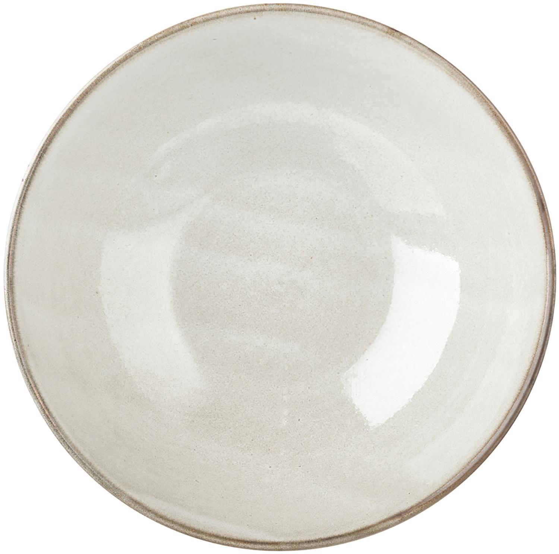 Platos hondos artesanales Thalia, 2uds., Gres, Beige, Ø 18 x Al 6 cm