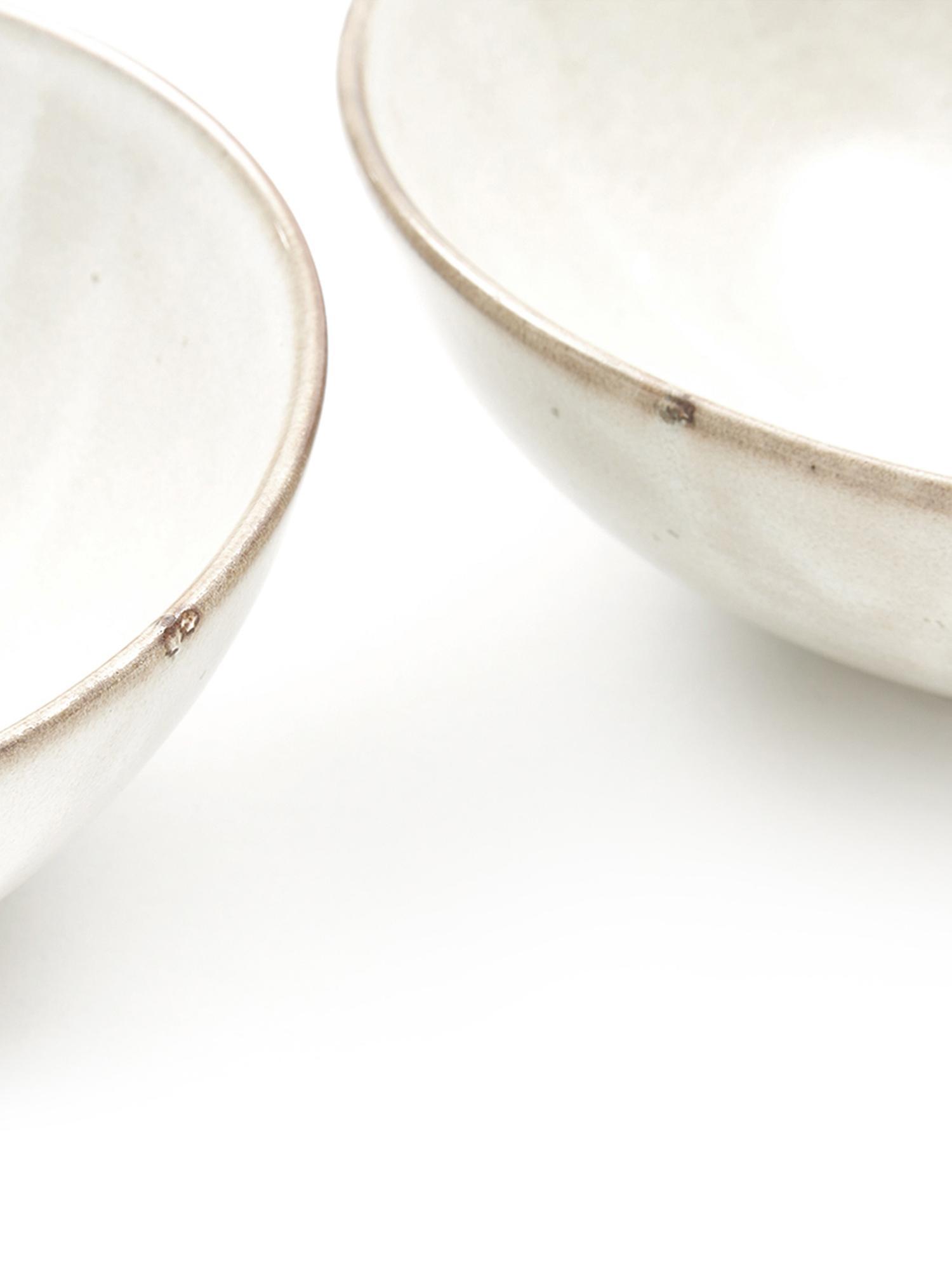 Ciotola fatta a mano Thalia 2 pz, Ceramica, Crema con bordo scuro, Ø 18 x Alt. 6 cm