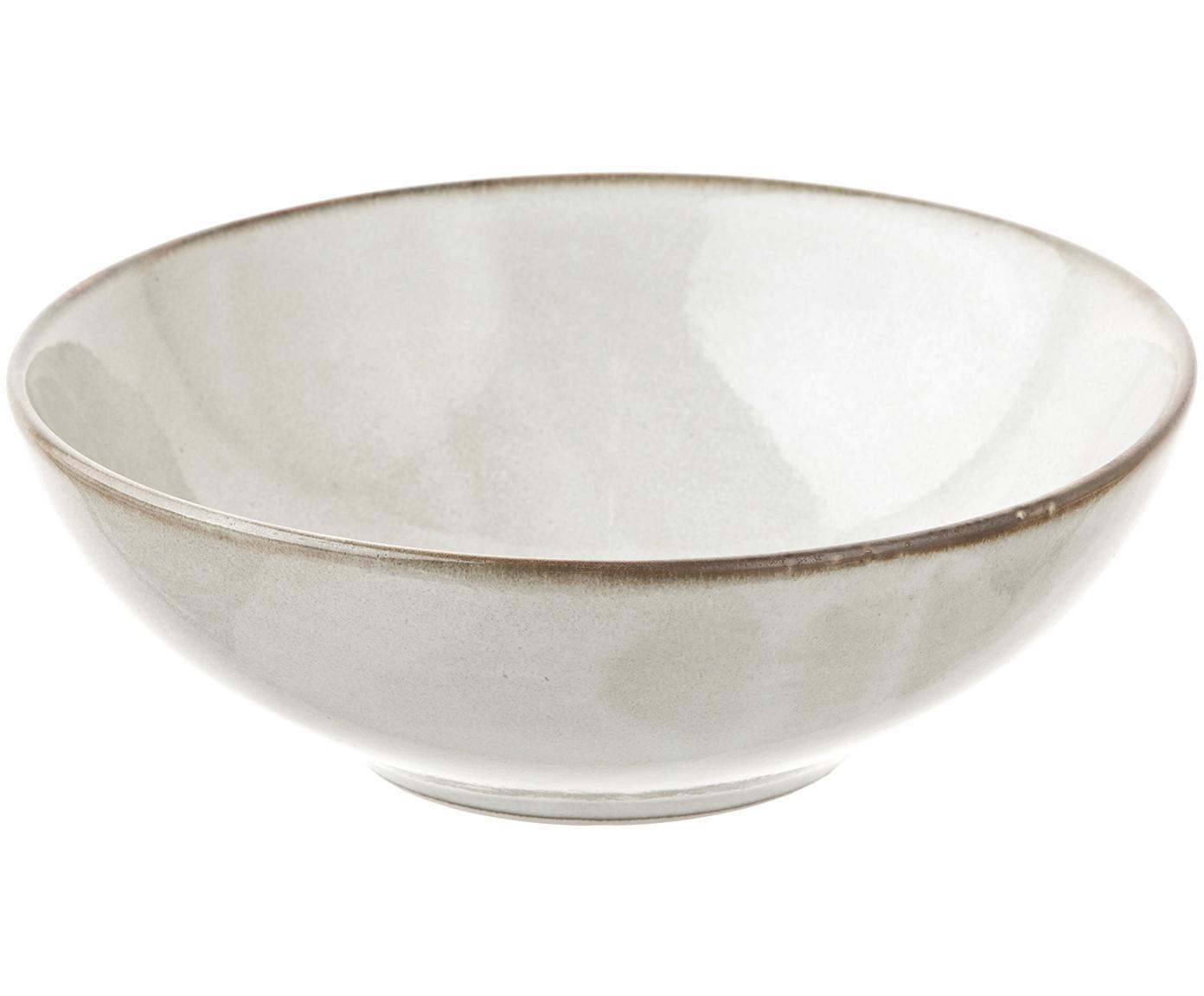 Ręcznie wykonany talerz głęboki Thalia, 2 szt., Ceramika, Kremowy z ciemną krawędzią, Ø 18 x W 6 cm