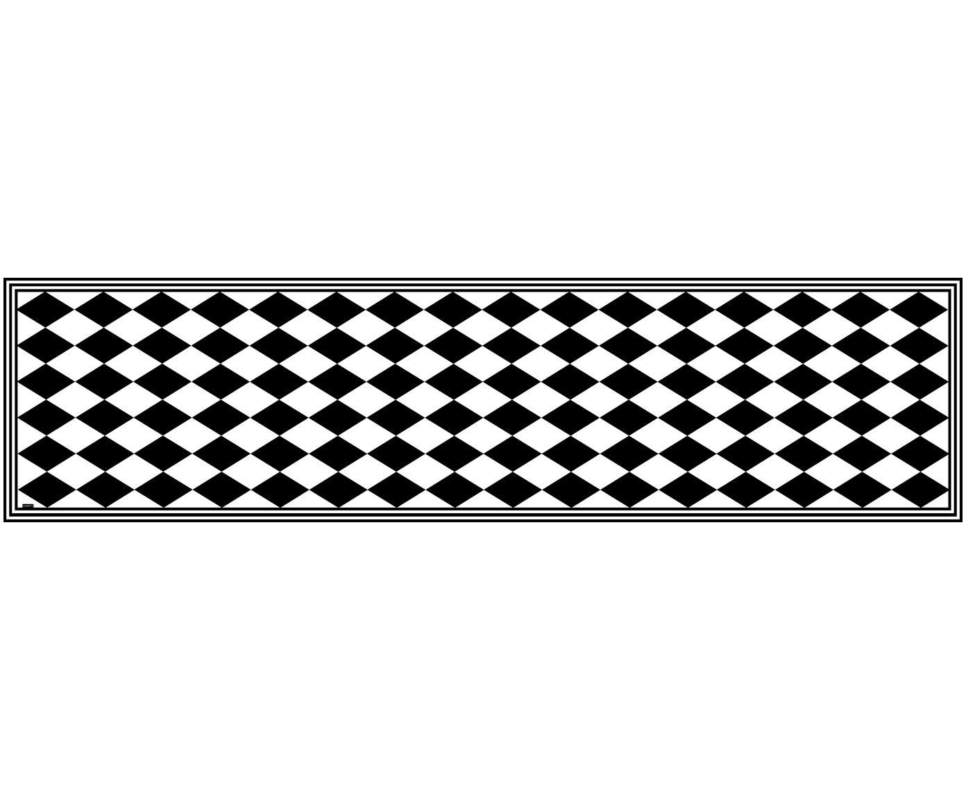 Vinyl vloermat Bobby II, Recyclebaar vinyl, Zwart, wit, 65 x 255 cm