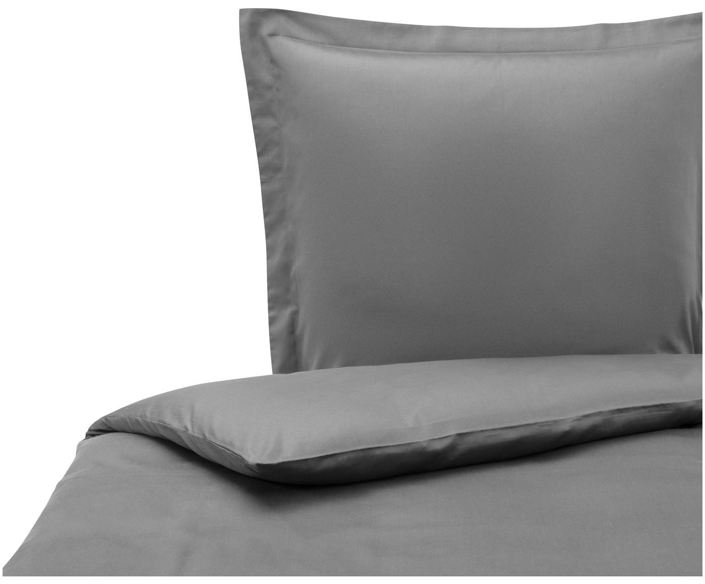 Katoensatijnen dekbedovertrek Premium, Weeftechniek: satijn, licht glanzend, Donkergrijs, 140 x 200 cm