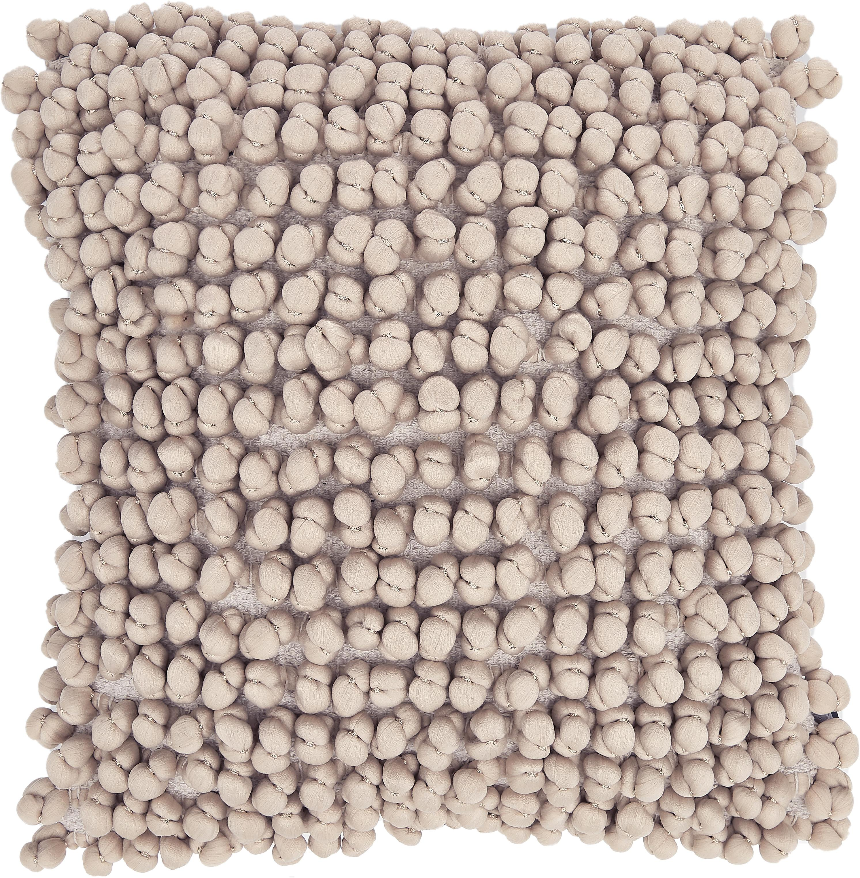 Kissen Bergen mit kleinen Stoffkugeln, mit Inlett, Sandfarben, 45 x 45 cm