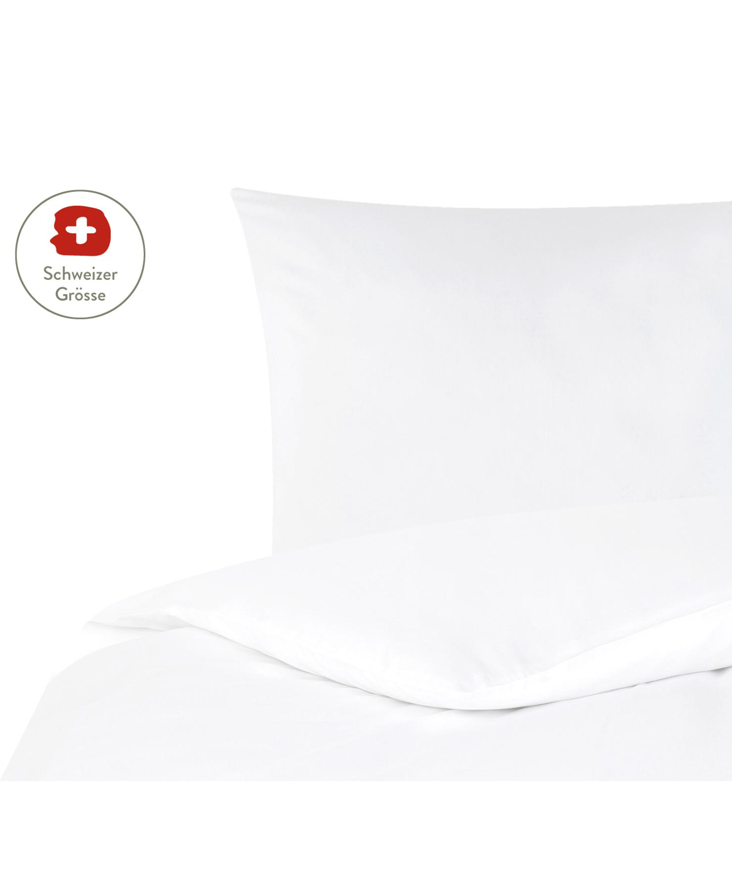 Baumwollsatin-Bettdeckenbezug Comfort in Weiss, Webart: Satin, leicht glänzend Fa, Weiss, 160 x 210 cm