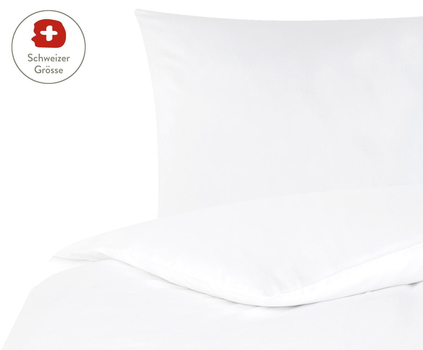 Baumwollsatin-Bettdeckenbezug Comfort in Weiss, Webart: Satin, leicht glänzend, Weiss, 160 x 210 cm