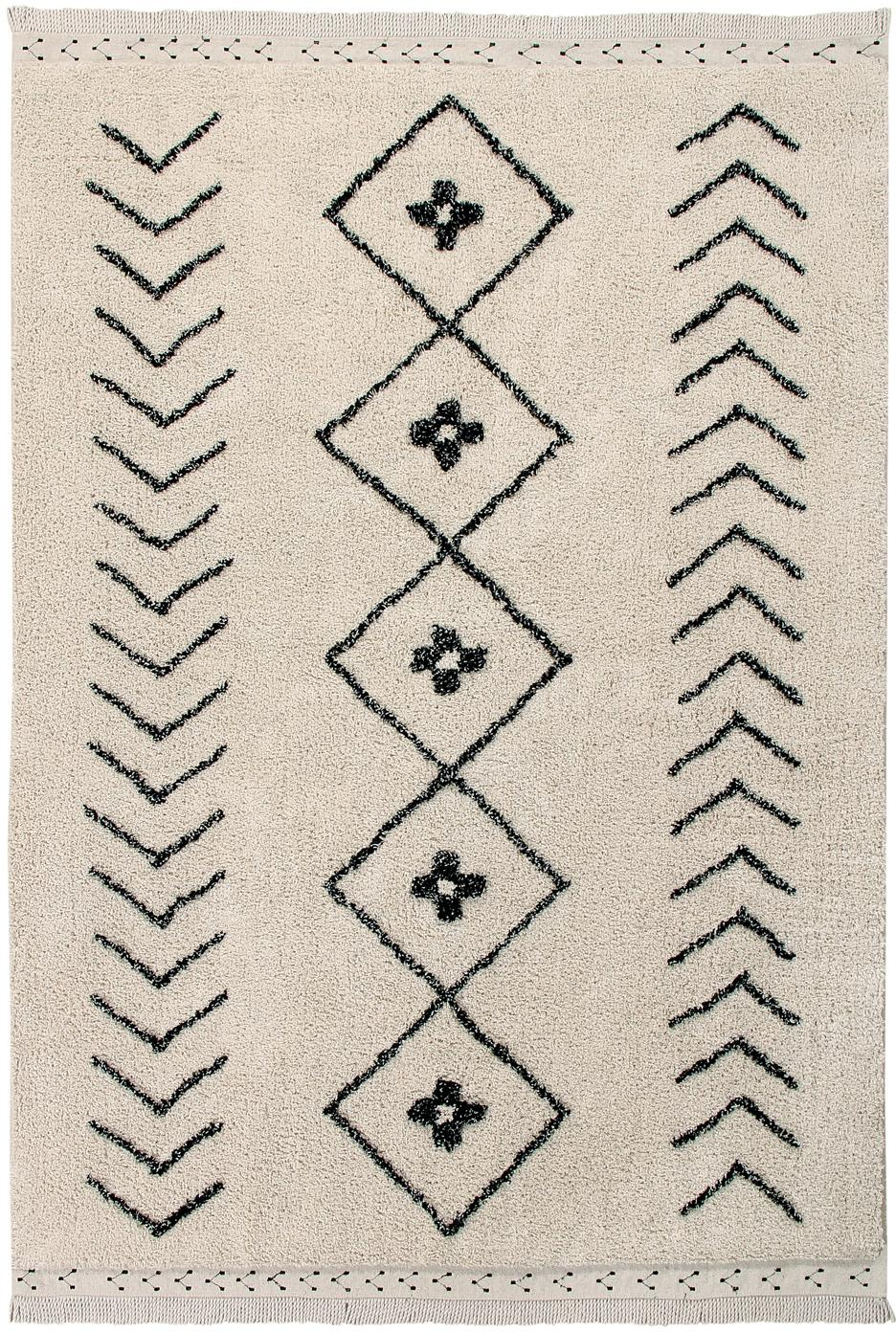 Alfombra Barber, Parte superior: 85%algodón, 15%algodón , Reverso: algodón reciclado, Beige, negro, An 120 x L 170 cm (Tamaño S)